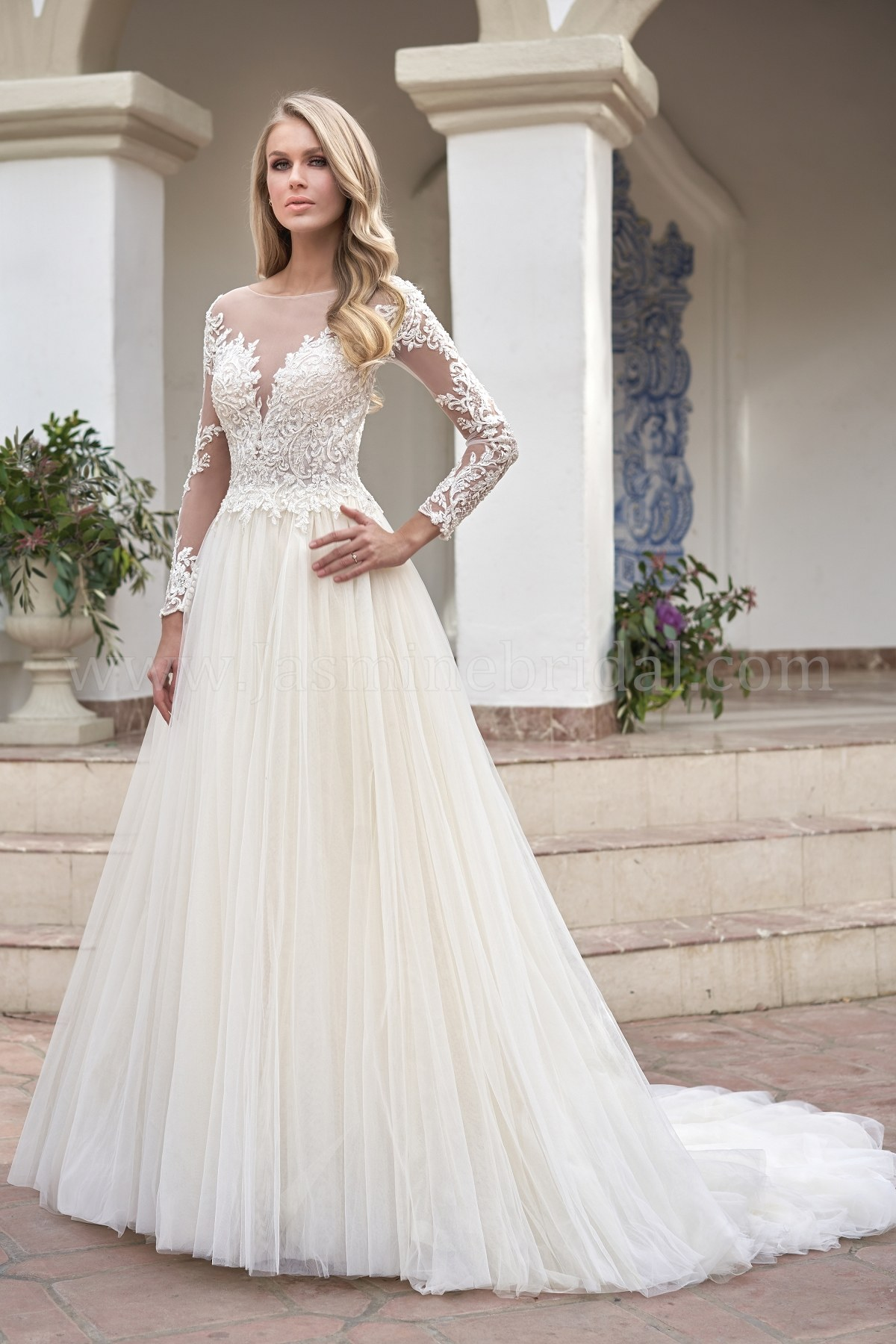 T202061 Illusion Bodice Neckline Embroidered Lace Tulle Wedding Dress