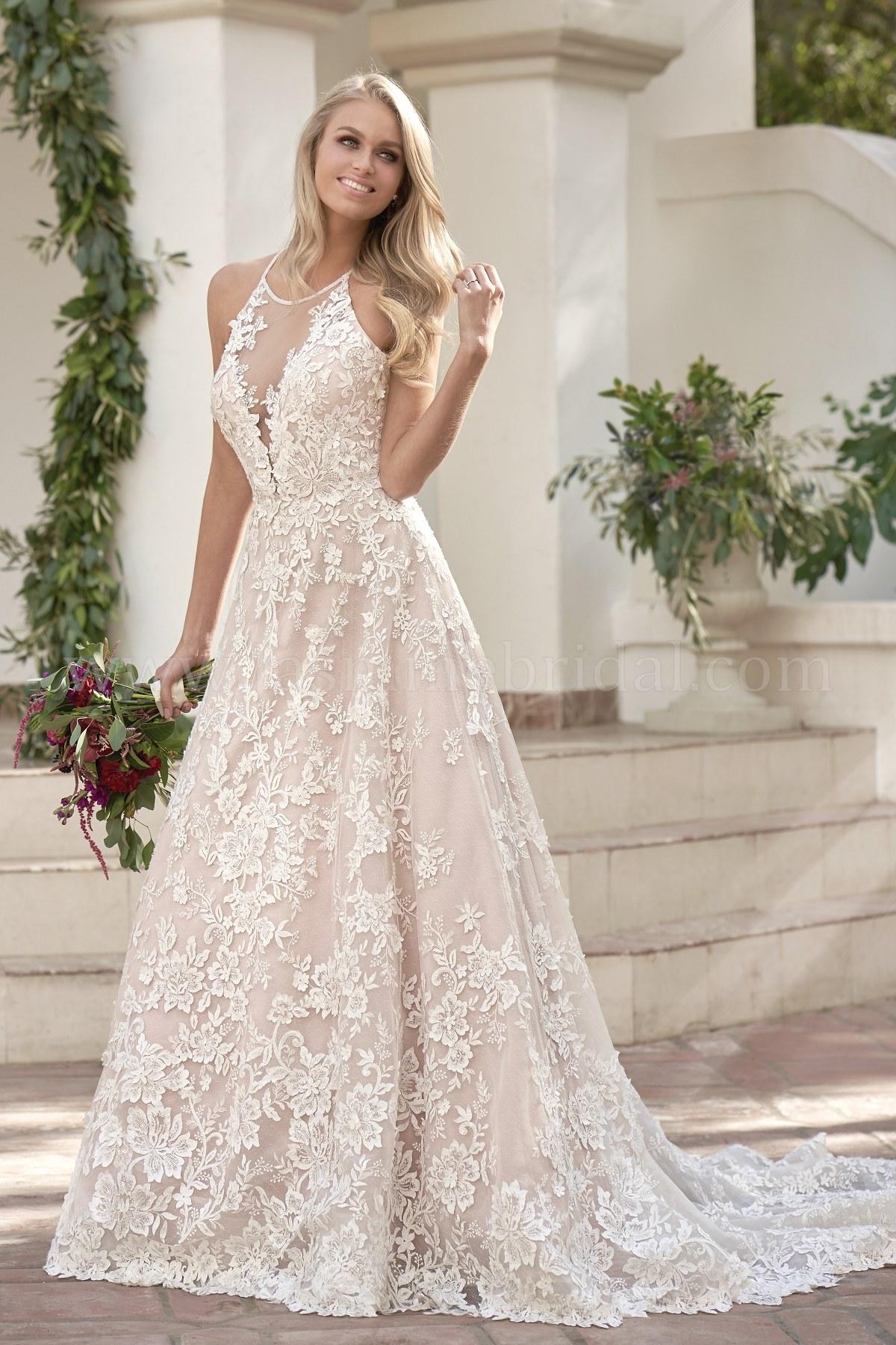T202063 Halter Neckline Embroidered Lace Netting & Organza Wedding Dress