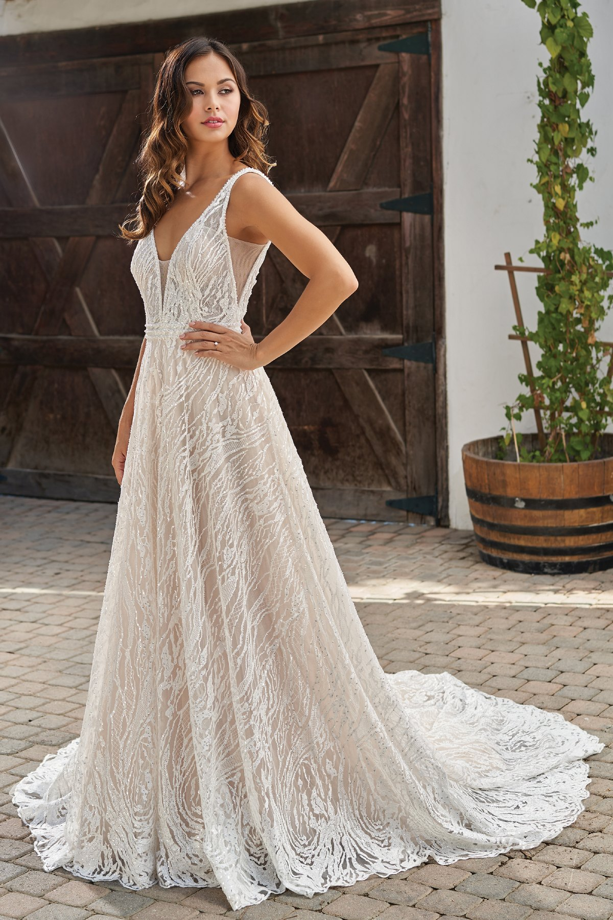 T212010 Romantic Embroidered Lace A Line Wedding Dress With