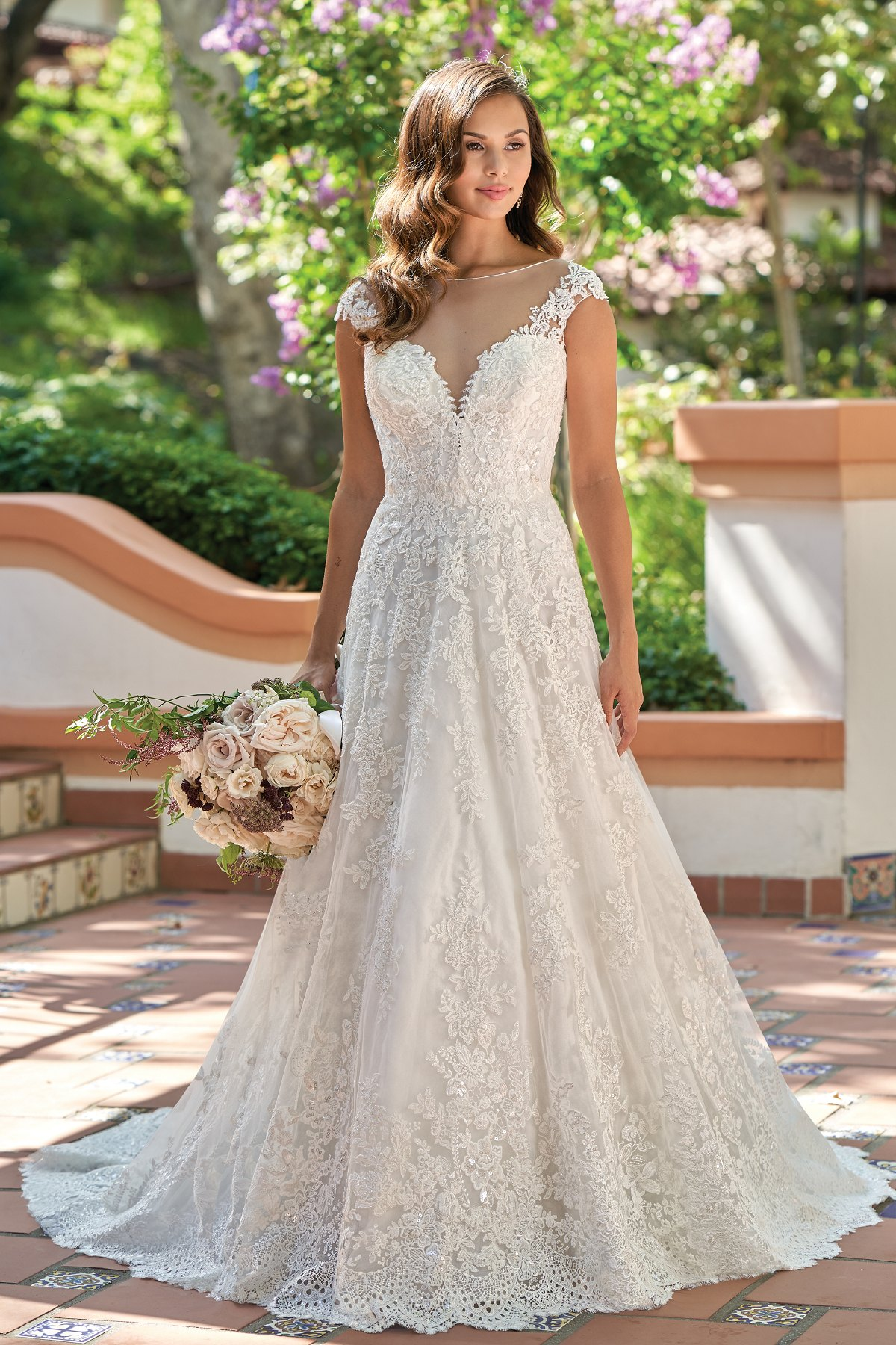 T212014 Vintage Embroidered Lace Wedding Dress With Illusion Neckline