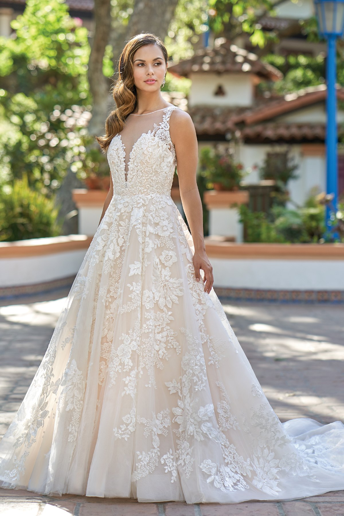 T212015 Romantic Embroidered Lace Ball Gown Wedding Dress With