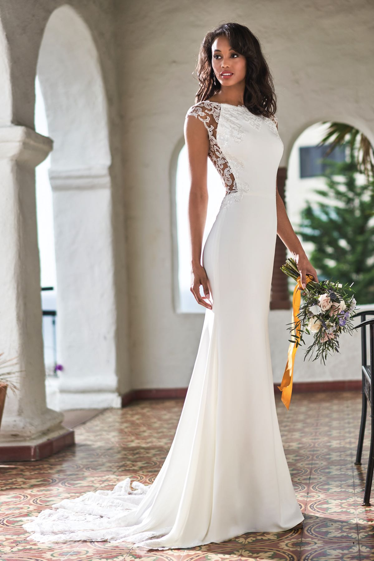 T212052 Romantic Sequin Lace Amp Stretch Crepe Wedding Dress