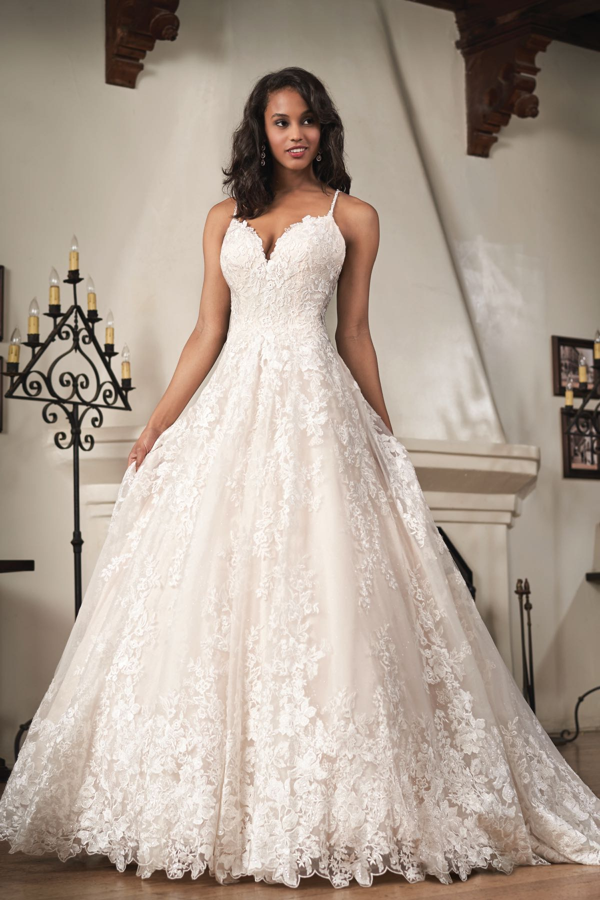 T212062 Romantic Embroidered Lace Ball Gown With V Neckline