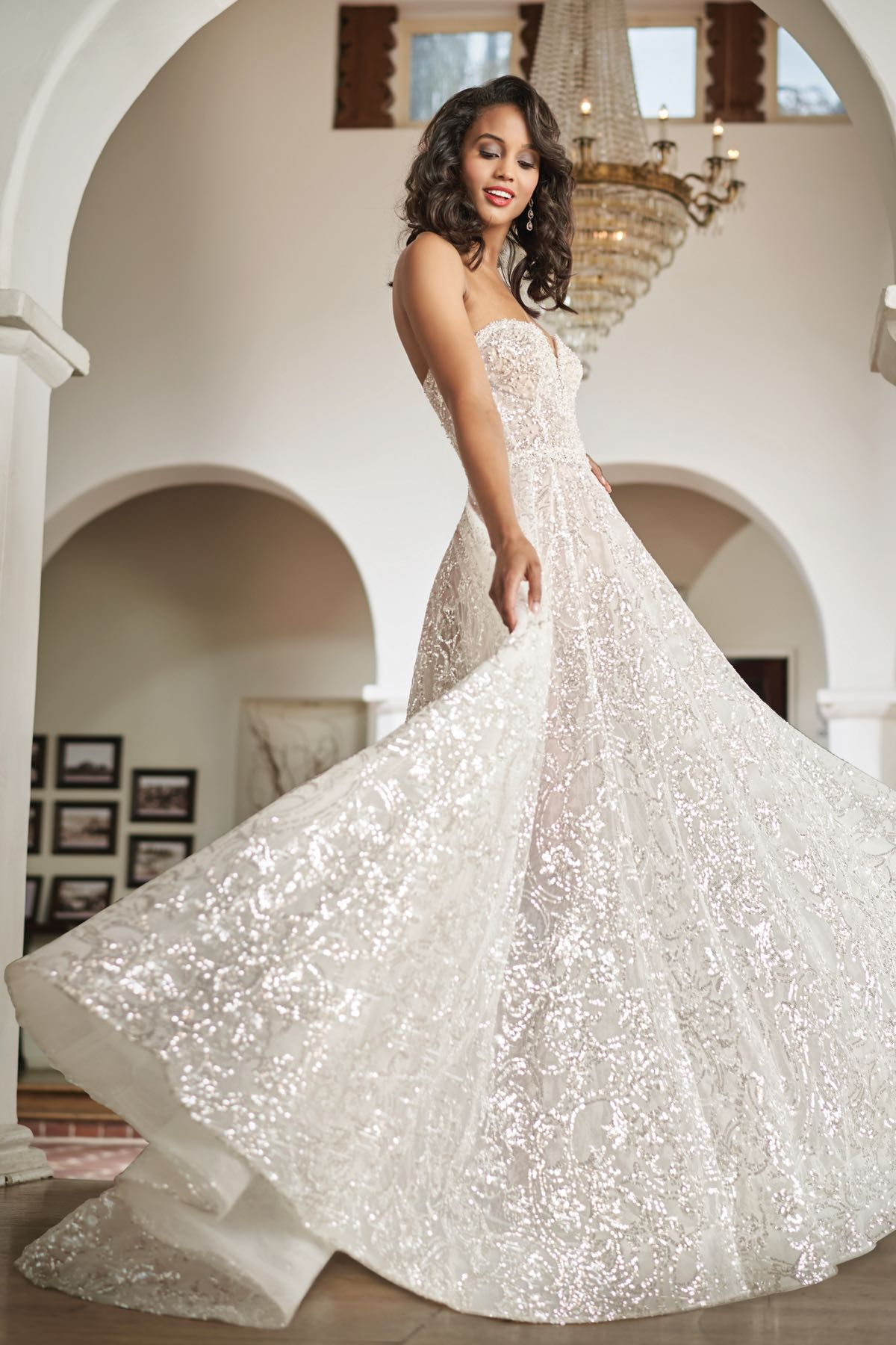 T212063 Gorgeous Sequin Lace Ball Gown With Strapless Sweatheart Neckline,Wedding Dresses For Big Busts
