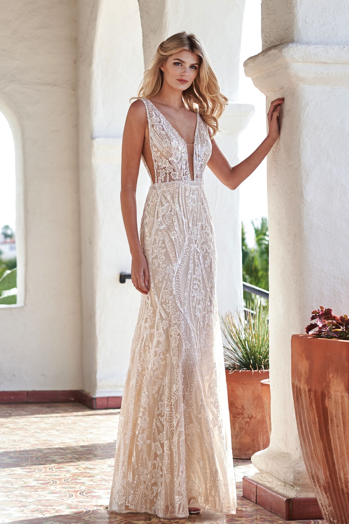 T212066 Beautiful Lace Sequin Wedding Dress With Low V