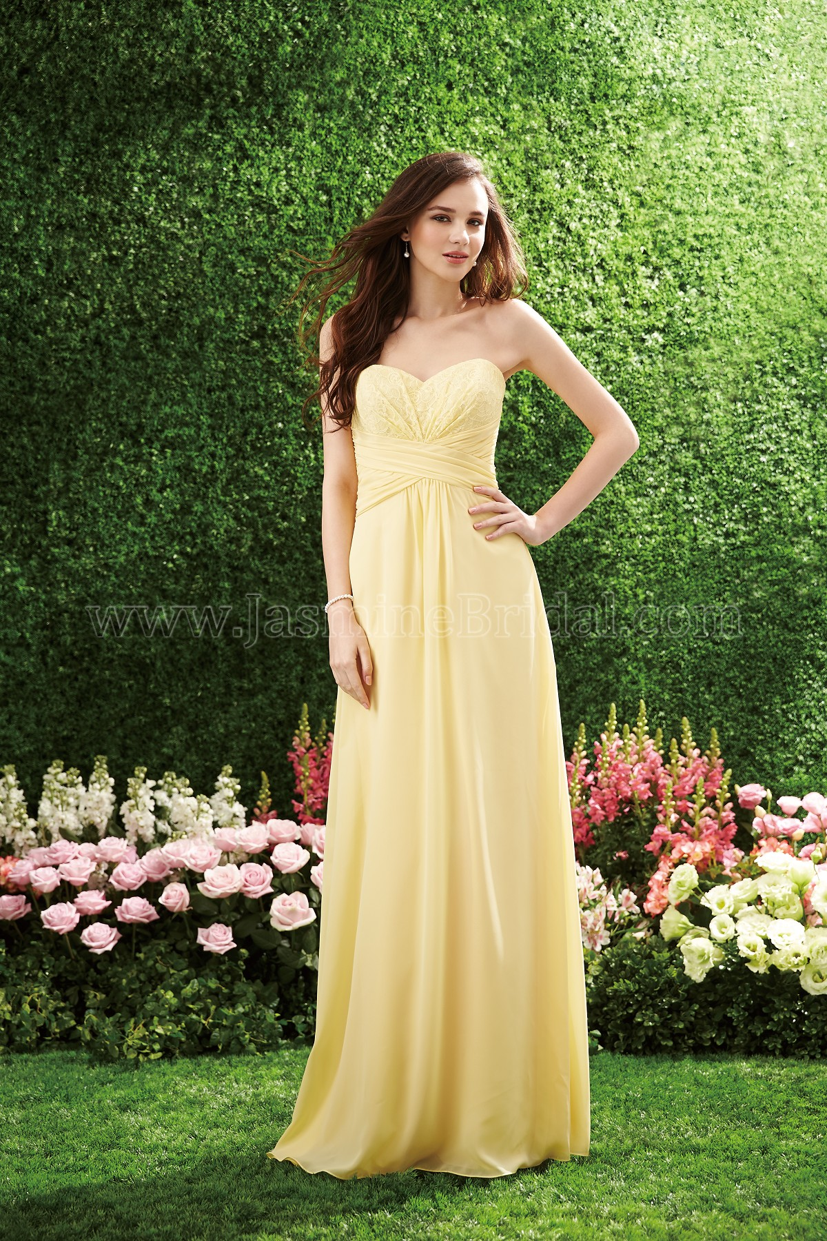 B153057 long sweetheart neckline lace poly chiffon bridesmaid dress ombrellifo Image collections