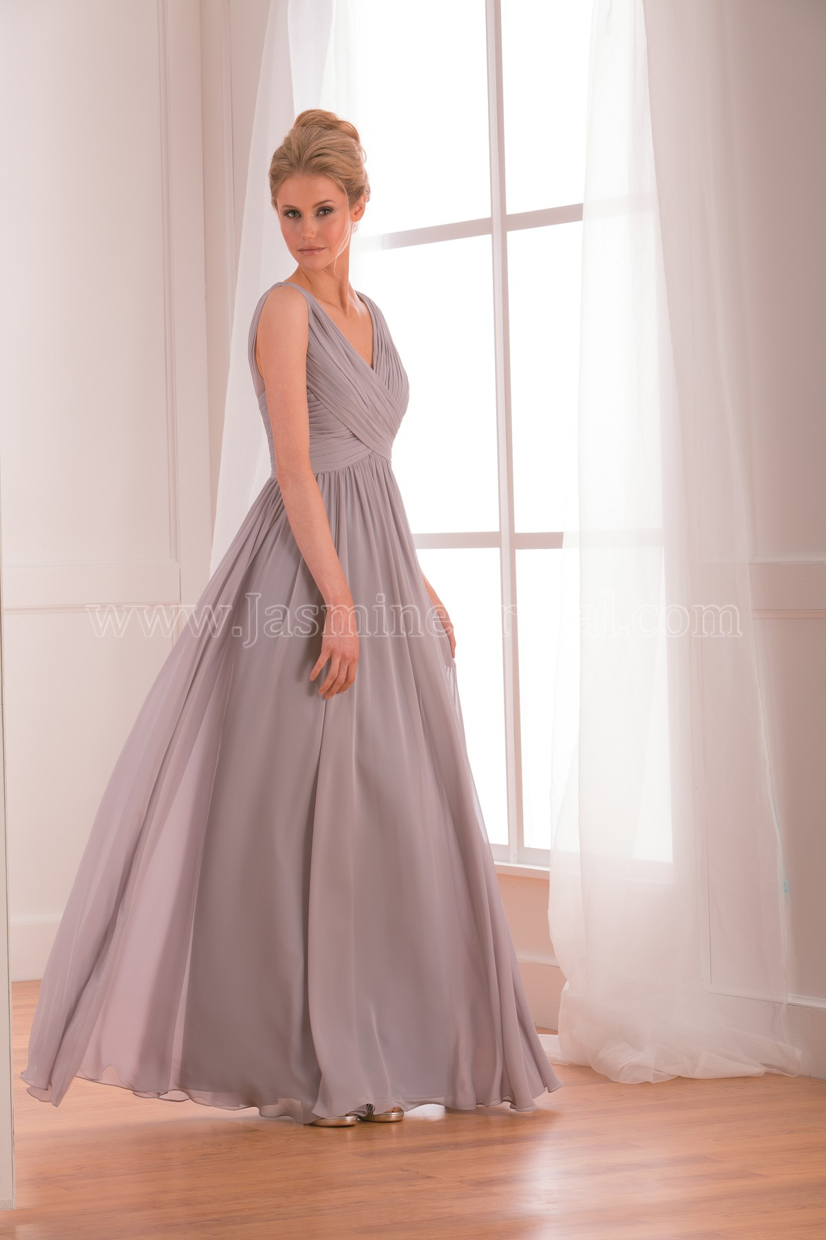 B173002 long v neck poly chiffon bridesmaid dress ombrellifo Images