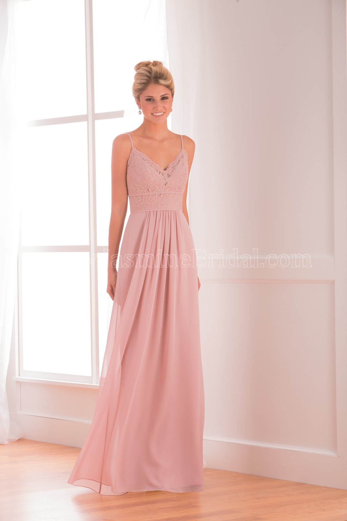 fb3690a51916 B173018 Long V-neck Lace & Poly Chiffon Bridesmaid Dress