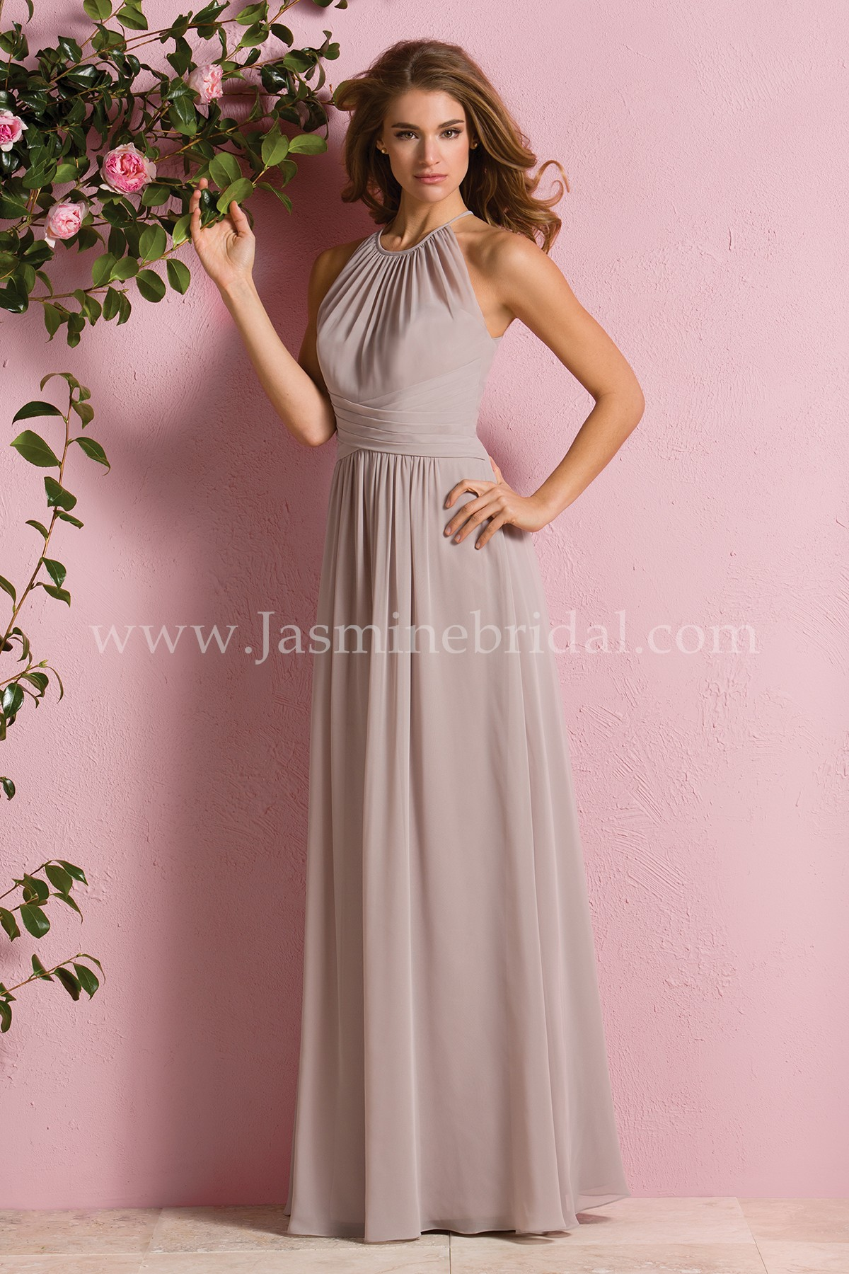 359fbfab14fd B173057 Long High Halter Neckline Poly Chiffon Bridesmaid Dress