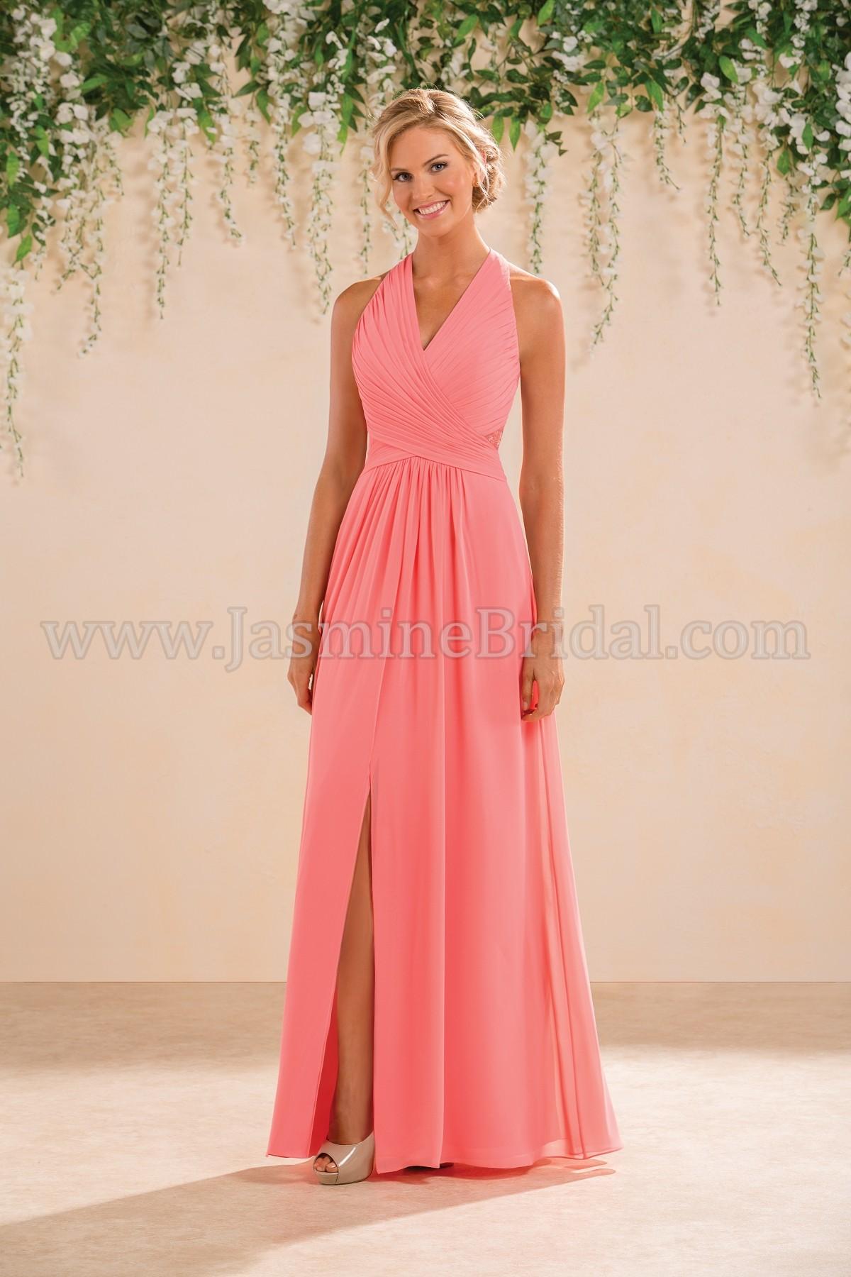 B183008 Long V-neck Poly Chiffon Bridesmaid Dress with Slit