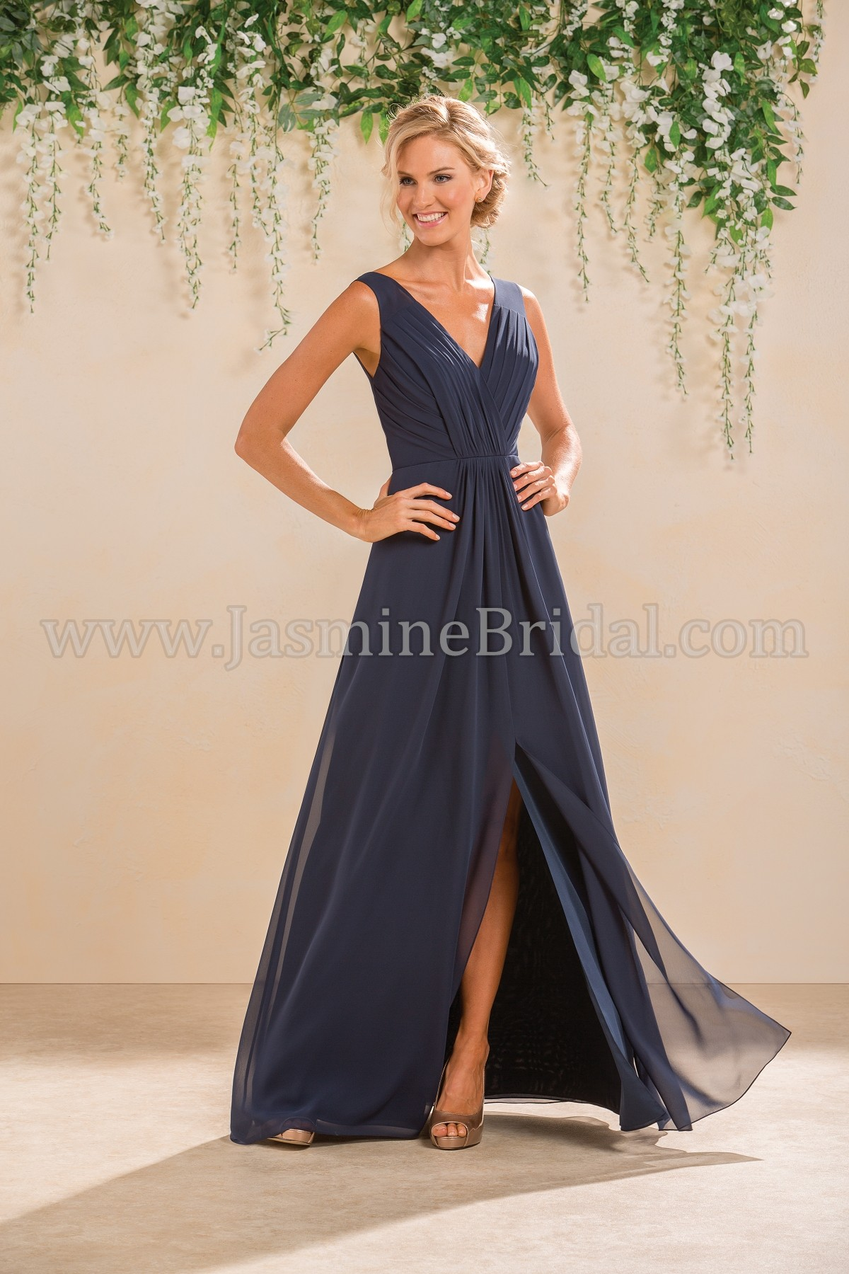 B183012 Long V Neck Poly Chiffon Bridesmaid Dress With Slit