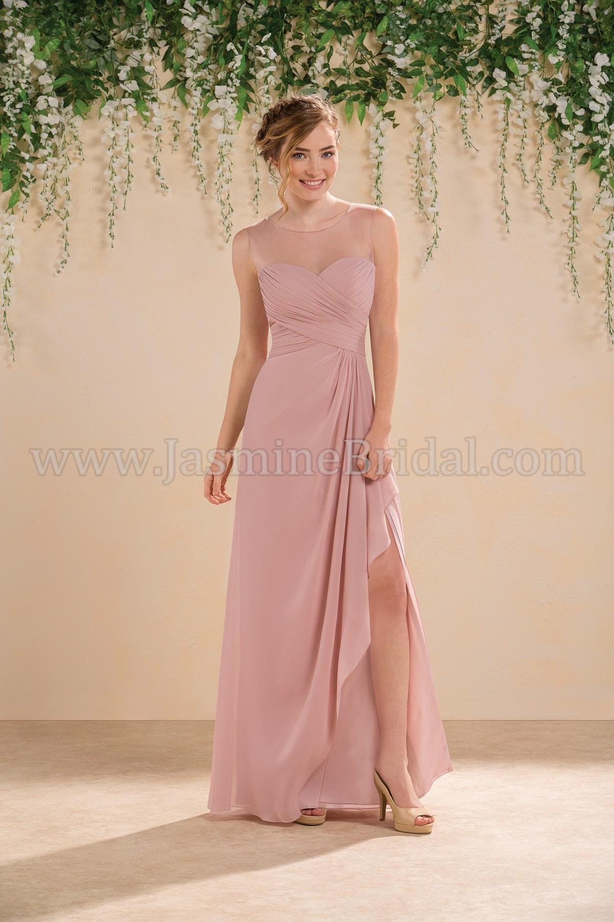 9748de1f65434 B183013 Long Sweetheart Illusion Neckline Poly Chiffon Bridesmaid Dress  with Slit