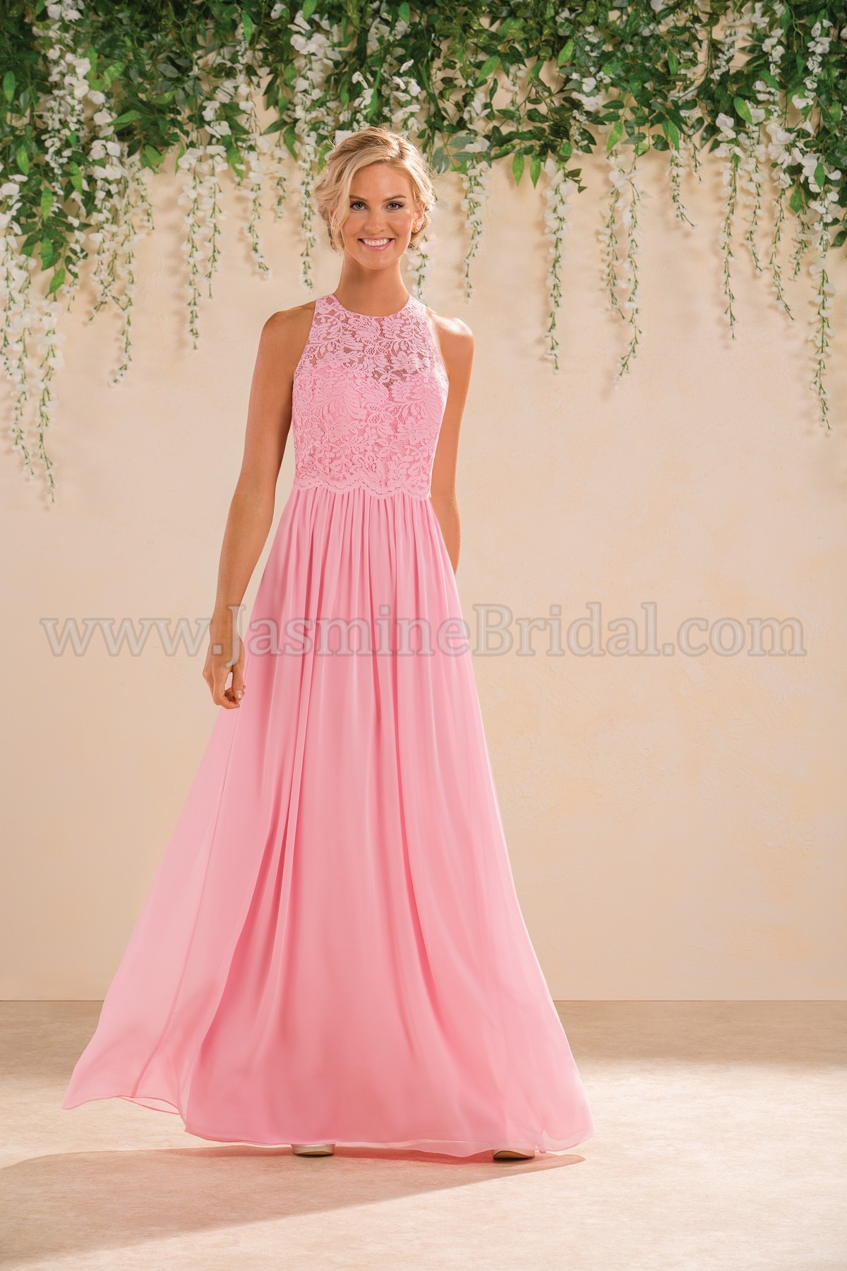 B183017 Long Jewel Neckline Lace & Poly Chiffon Bridesmaid Dress