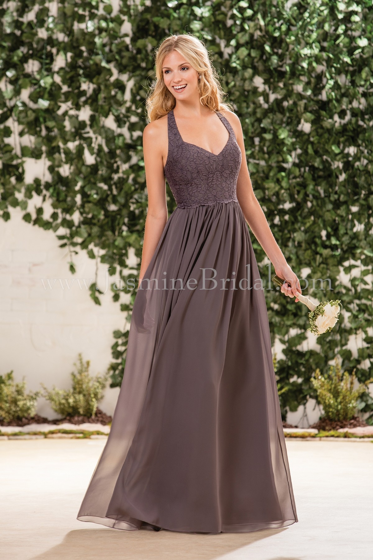 B183061 long v neck lace poly chiffon bridesmaid dress with halter home bridesmaids b2 b183061 ombrellifo Gallery