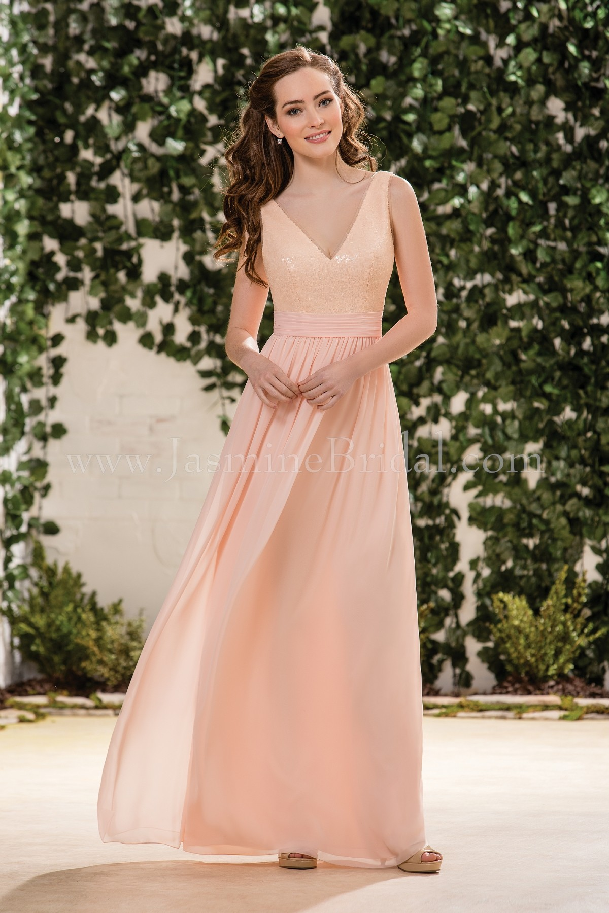 B183063 long v neck sequin poly chiffon bridesmaid dress ombrellifo Images