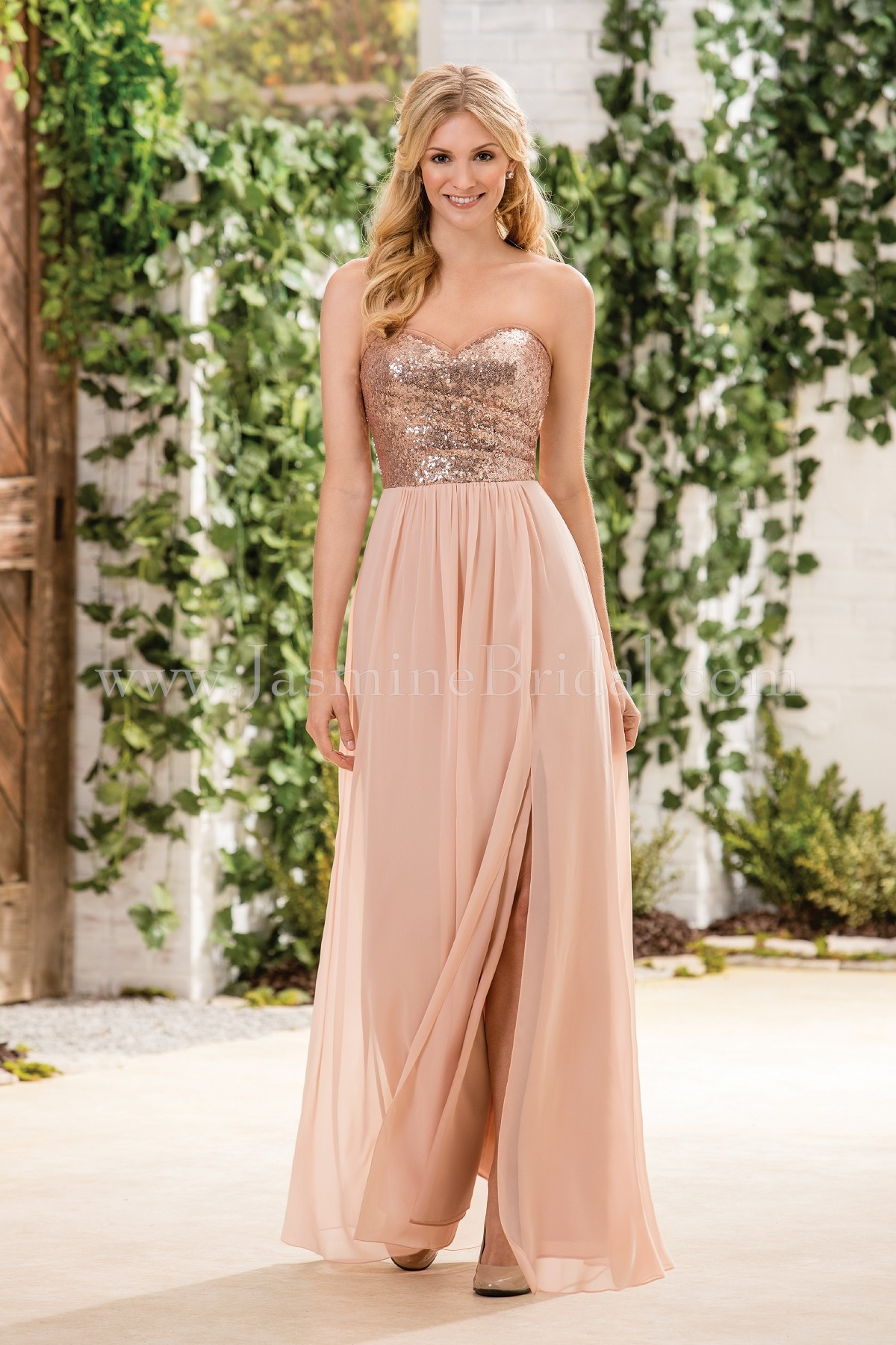 0dfa5d3ea7f B183064 Long Sweetheart Neckline Sequin   Poly Chiffon Bridesmaid Dress  with Slit