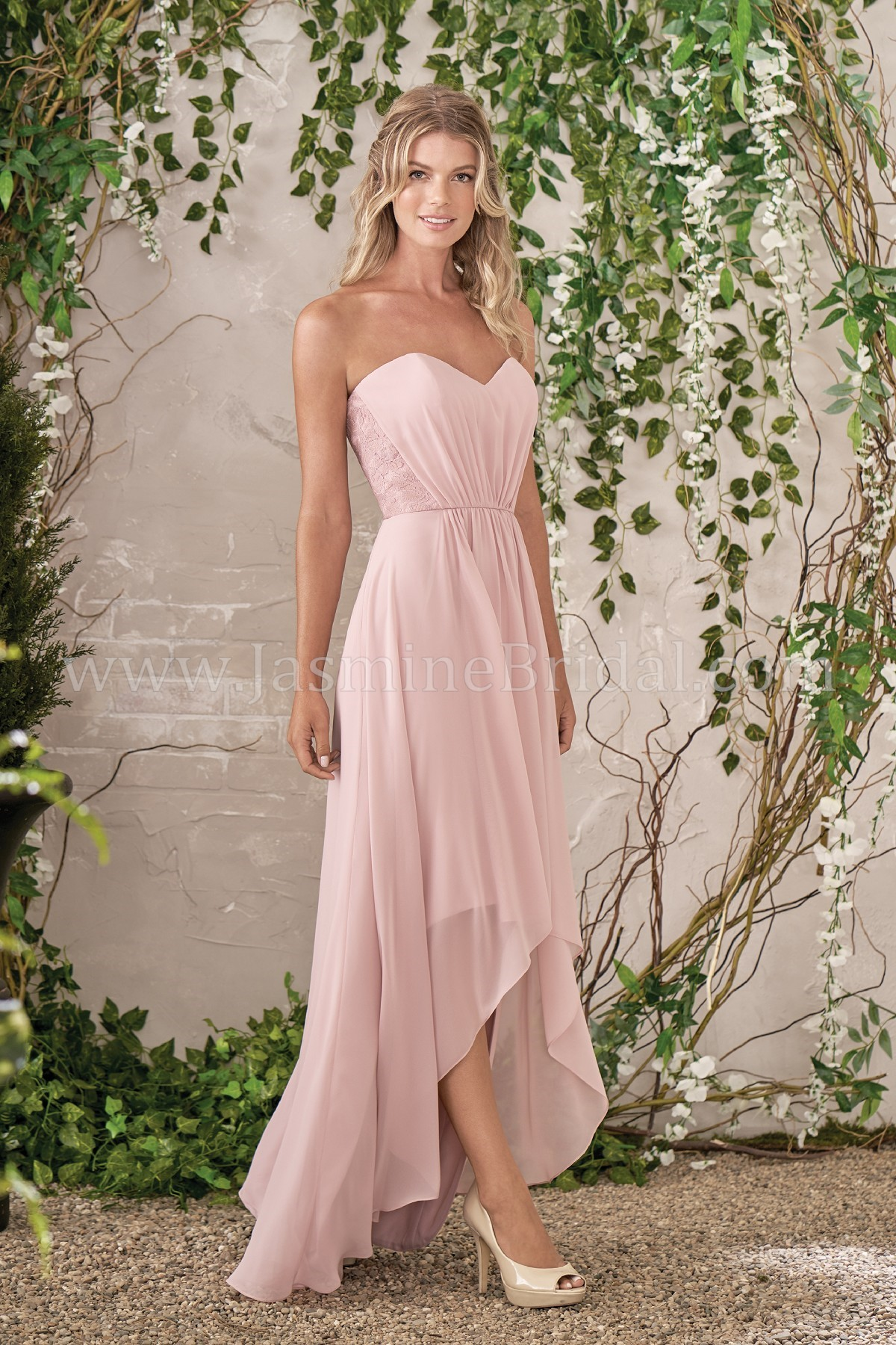 B193006 Sweetheart Neckline Poly Chiffon With Lace High Low Bridesmaid Dress