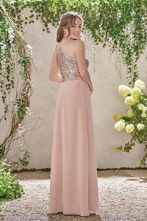 6601e2c2a6 B193007 Long Jewel Neckline Sequin   Poly Chiffon Bridesmaid Dress