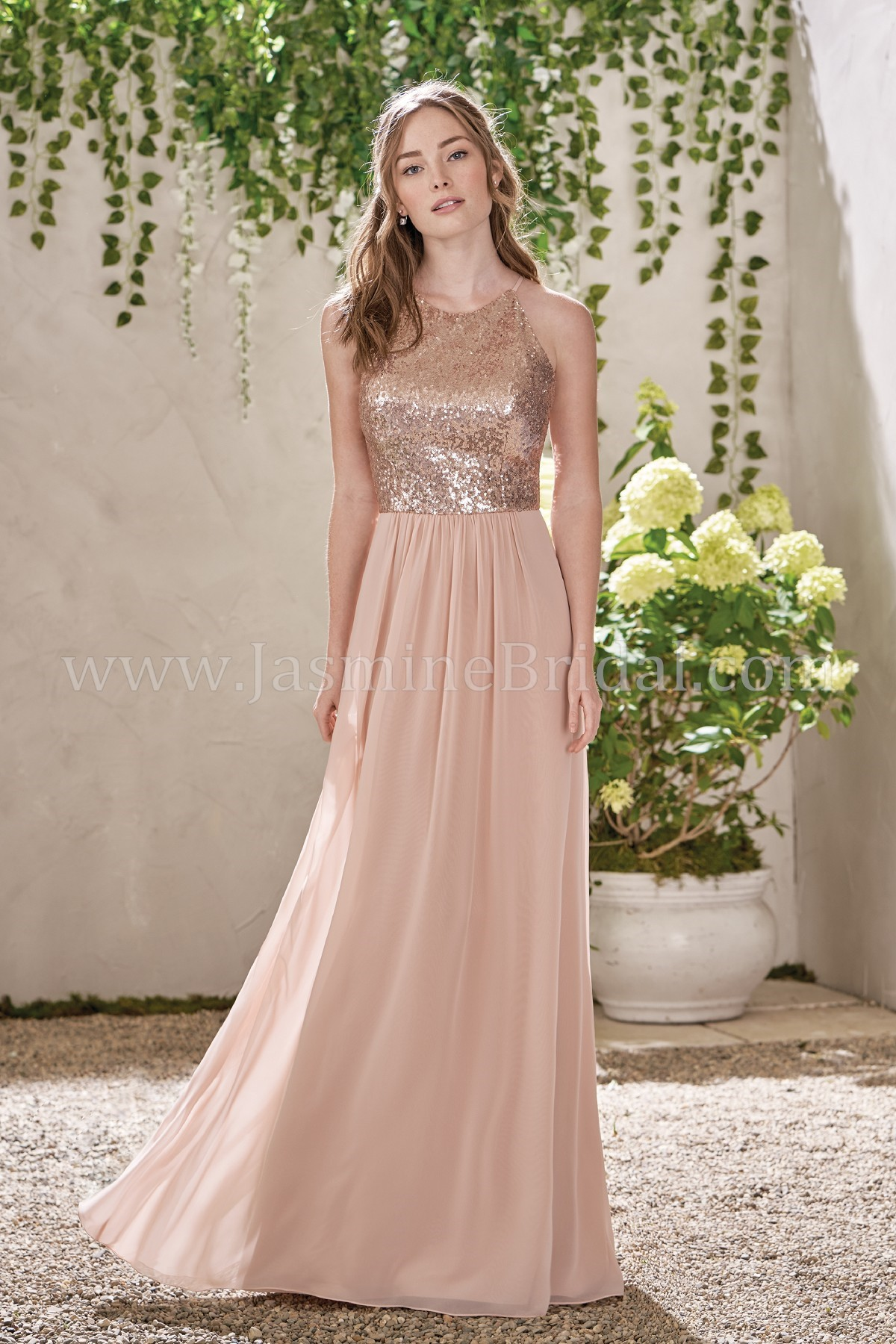B193007 long jewel neckline sequin poly chiffon bridesmaid dress ombrellifo Choice Image