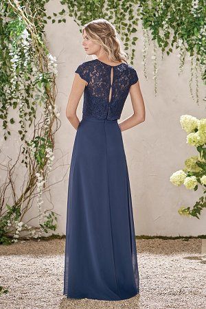 22efd9722f7 B193010 Long Sweetheart Neckline Poly Chiffon Bridesmaid Dress with Lace Top
