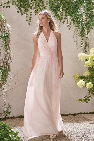 225427e5de7a B193014 Long V-neck Halter Sunset Print Bridesmaid Dress