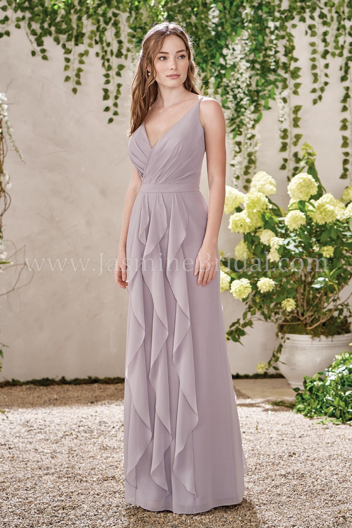 6251746aea3 B193015 Long V-neck Poly Chiffon Ruffled Bridesmaid Dress