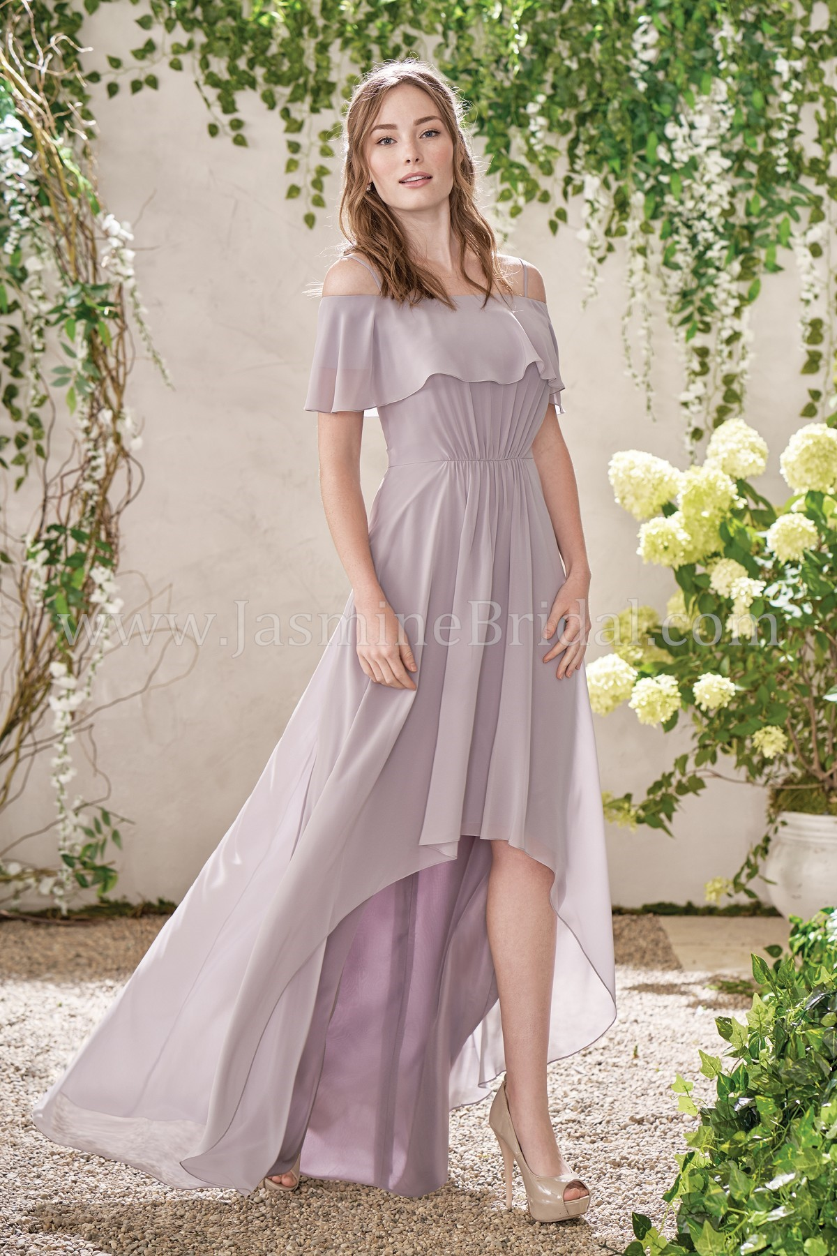 B193017 Off The Shoulder Poly Chiffon High Low Bridesmaid Dress