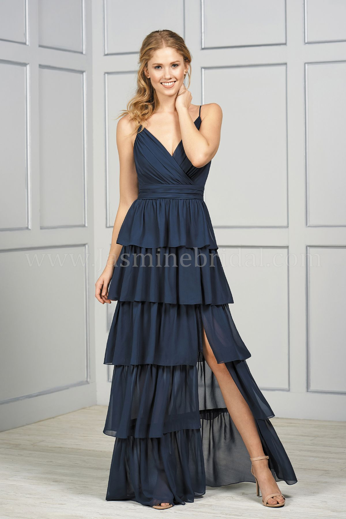 39ed4b1c83b B193051 Long V-neck Poly Chiffon Ruffled Bridesmaid Dress with Front Slit