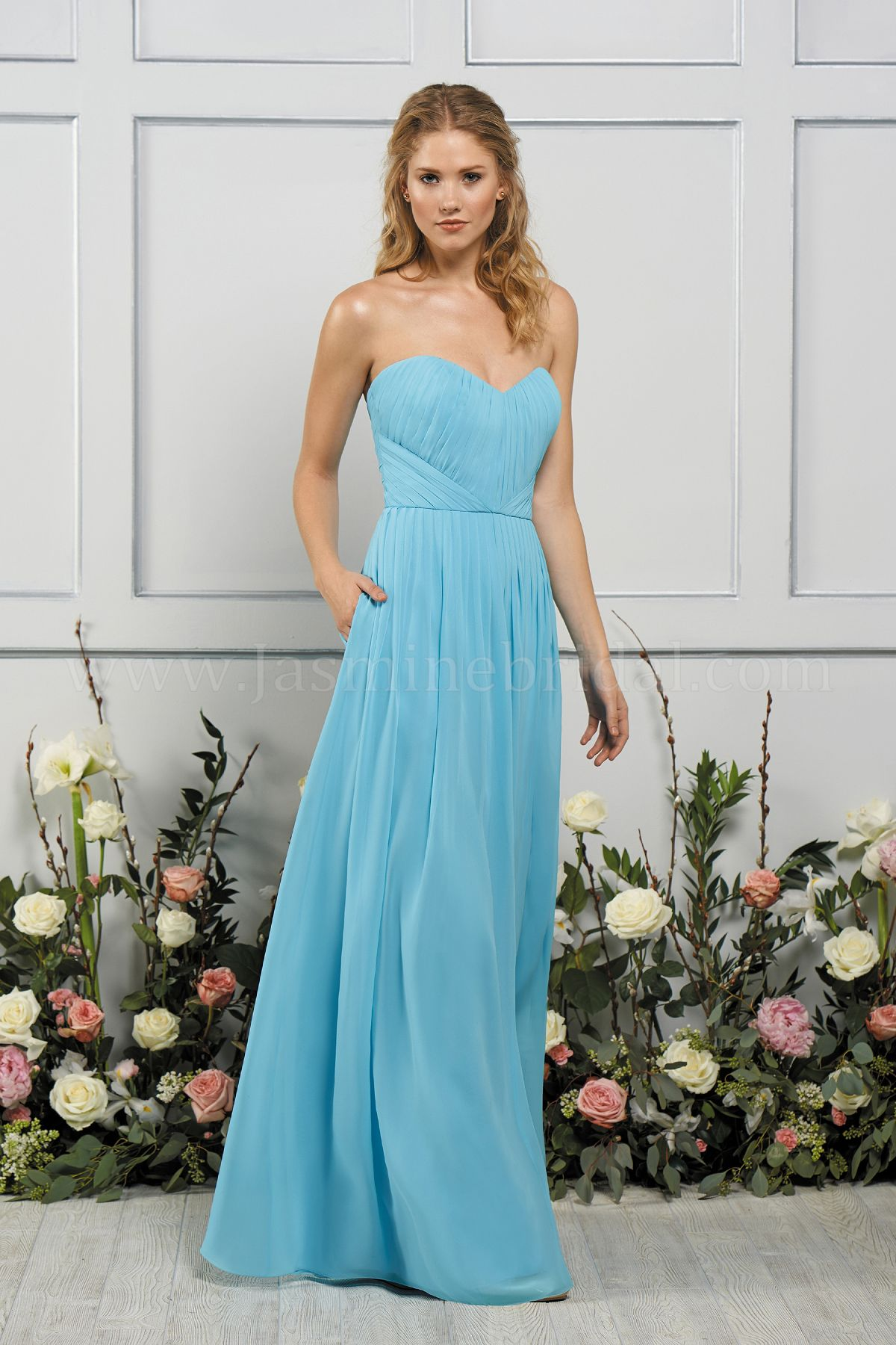4a1ae6005b B193055 Long Sweetheart Neckline Poly Chiffon Bridesmaid Dress