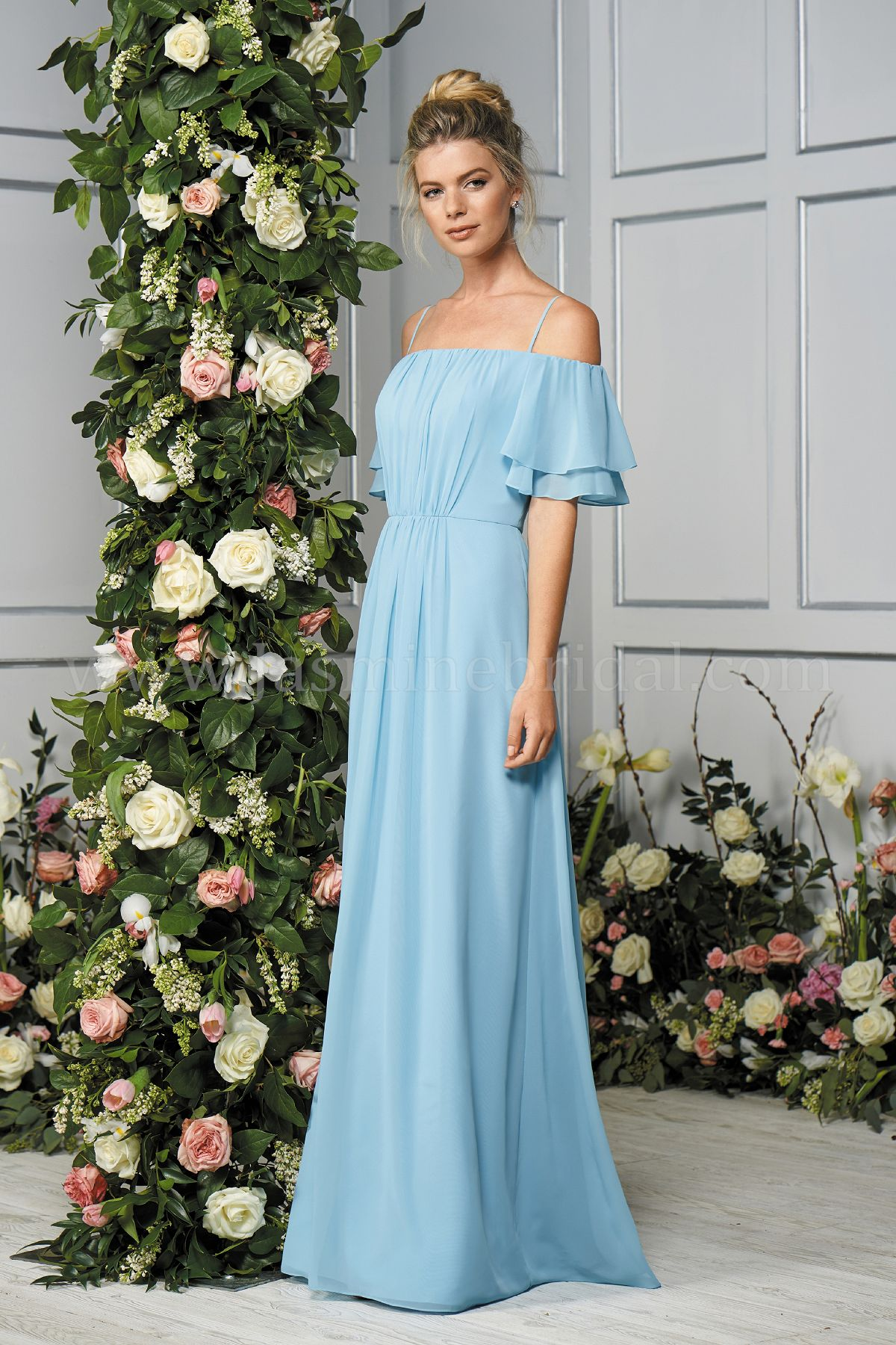63f896e6a9 B193056 Long Off-the-Shoulder Poly Chiffon Bridesmaid Dress