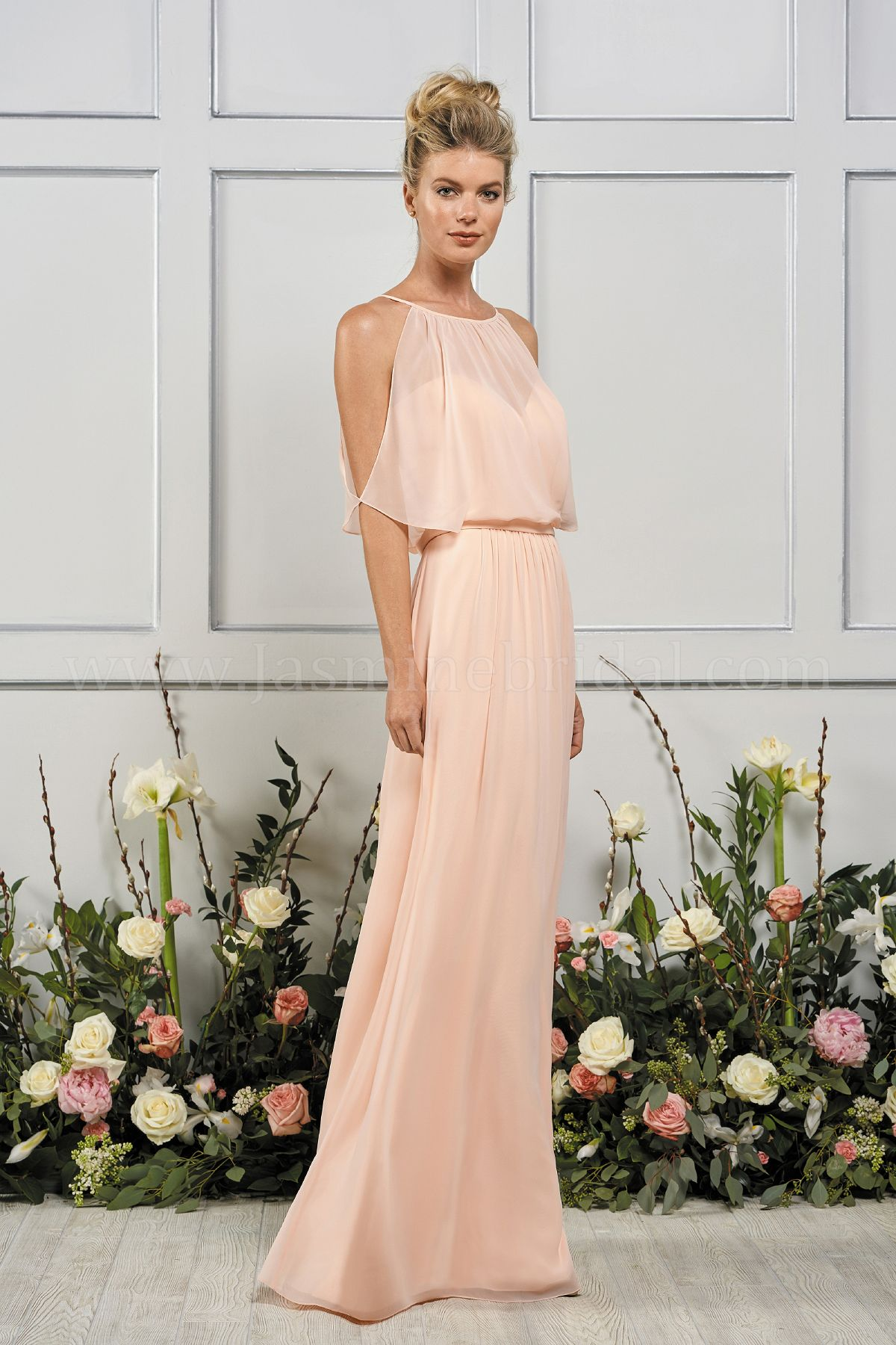 22a1fc5465f23 B193060 Long Sweetheart Neckline Poly Chiffon Bridesmaid Dress