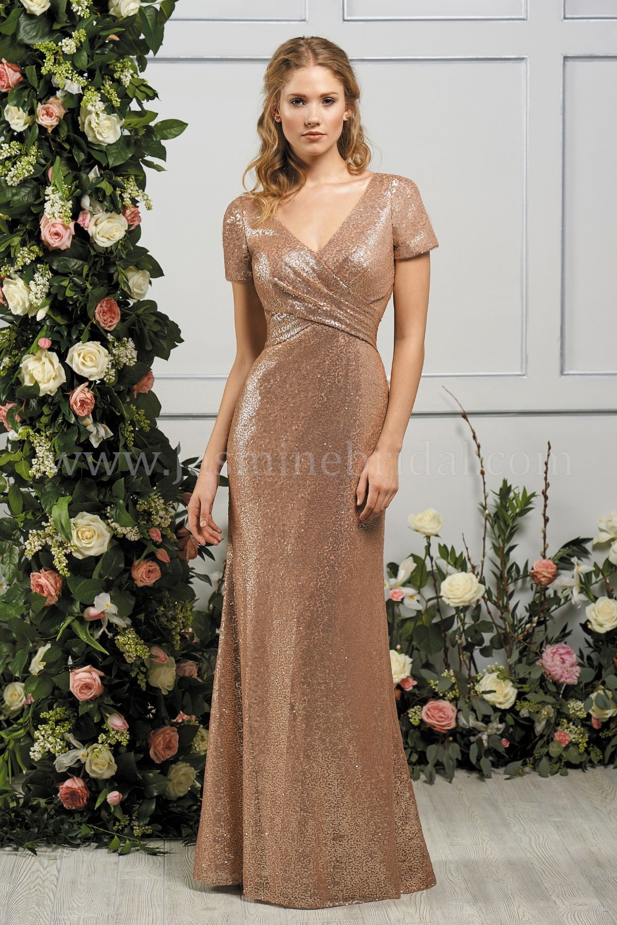 7d2d3cc7ce35 B193066 Long V-neck Sequin Bridesmaid Dress with Short Sleeves