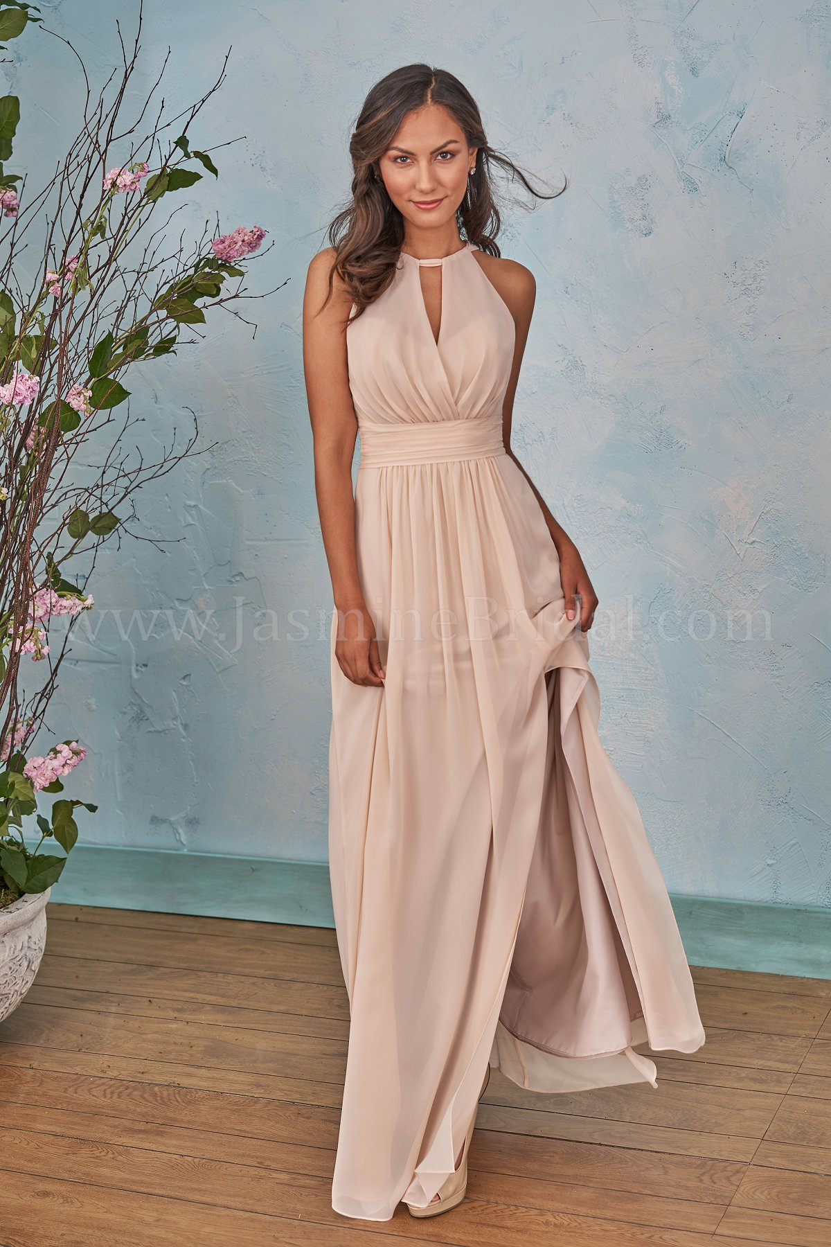 25cdc0d0b04 B203004 Long Halter Neckline Poly Chiffon Bridesmaid Dress with Front Slit