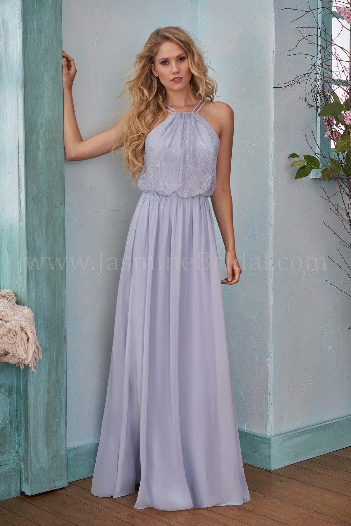 B203006 Long Halter Neckline Lace Poly Chiffon Bridesmaid Dress