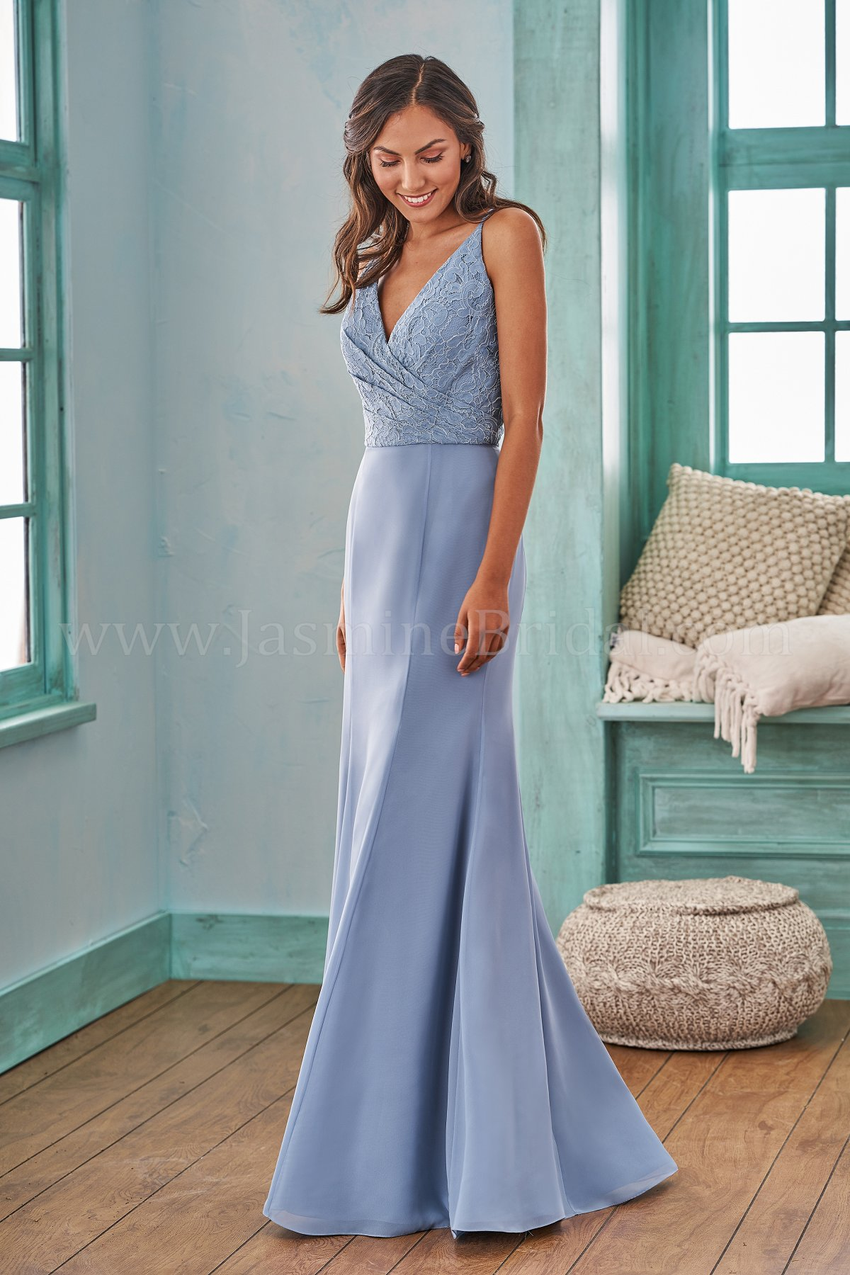 B203007 Long V-neck Fit and Flare Lace & Poly Chiffon Bridesmaid Dress