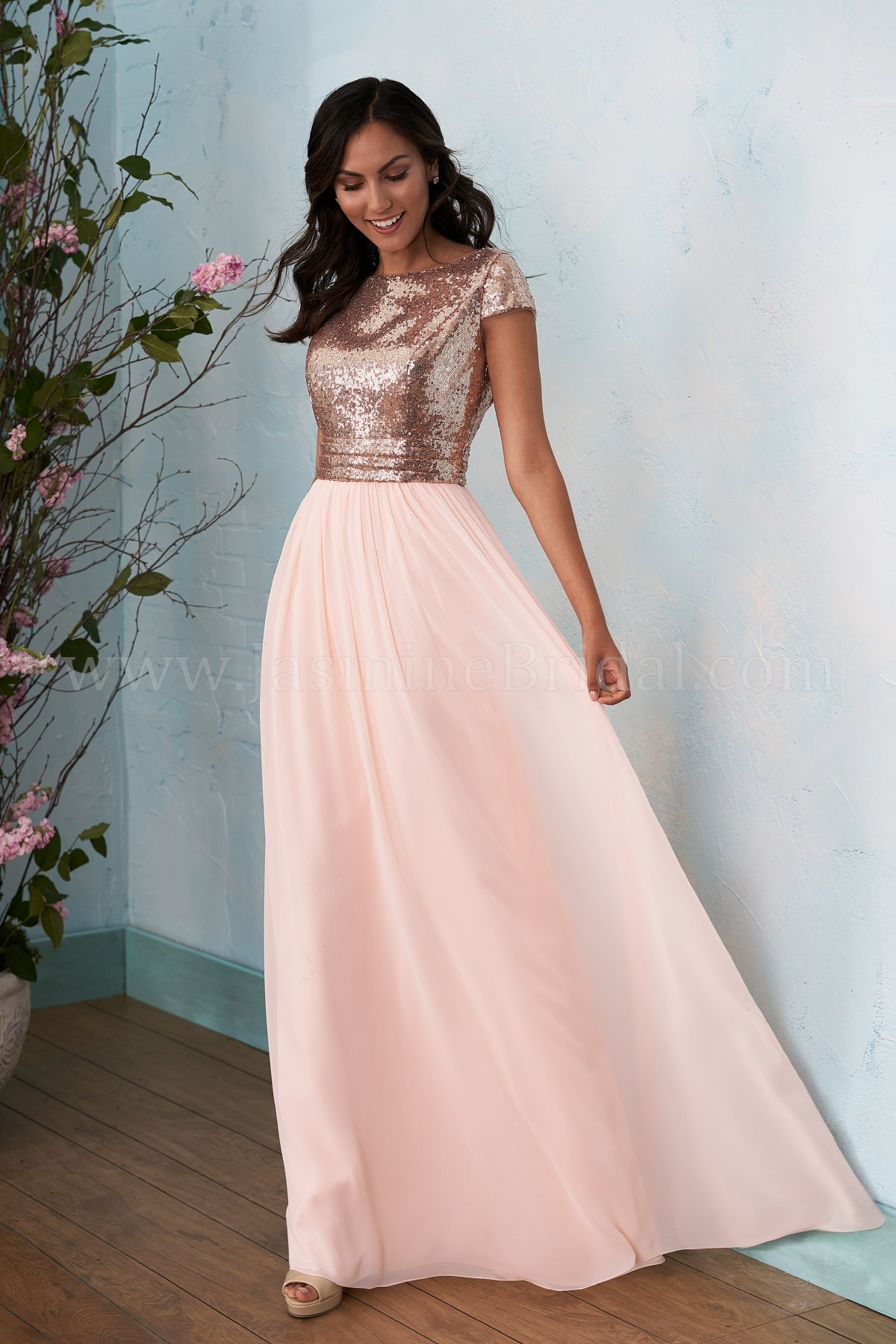 B203012 Long Boat Neckline Sequin Amp Poly Chiffon