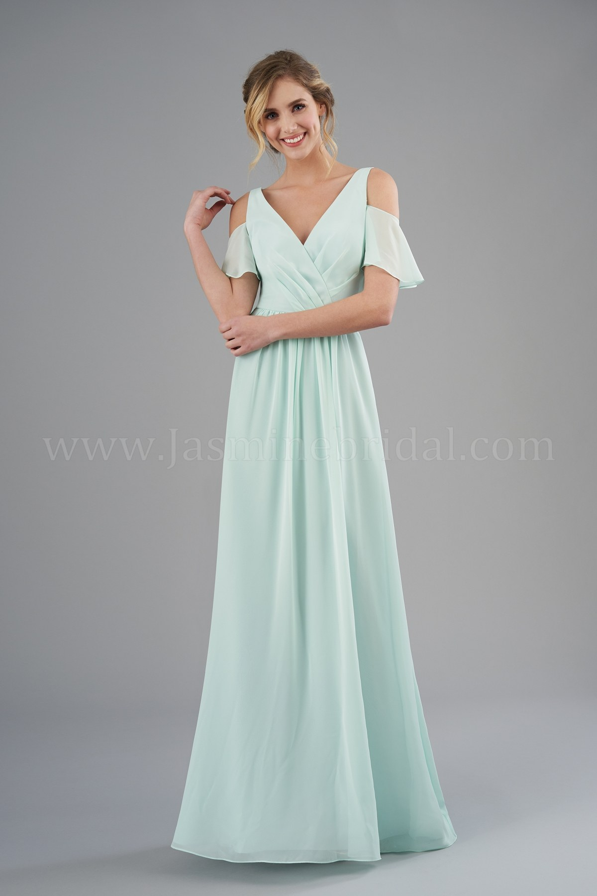 B203052 V Neck Poly Chiffon Long Bridesmaid Dress