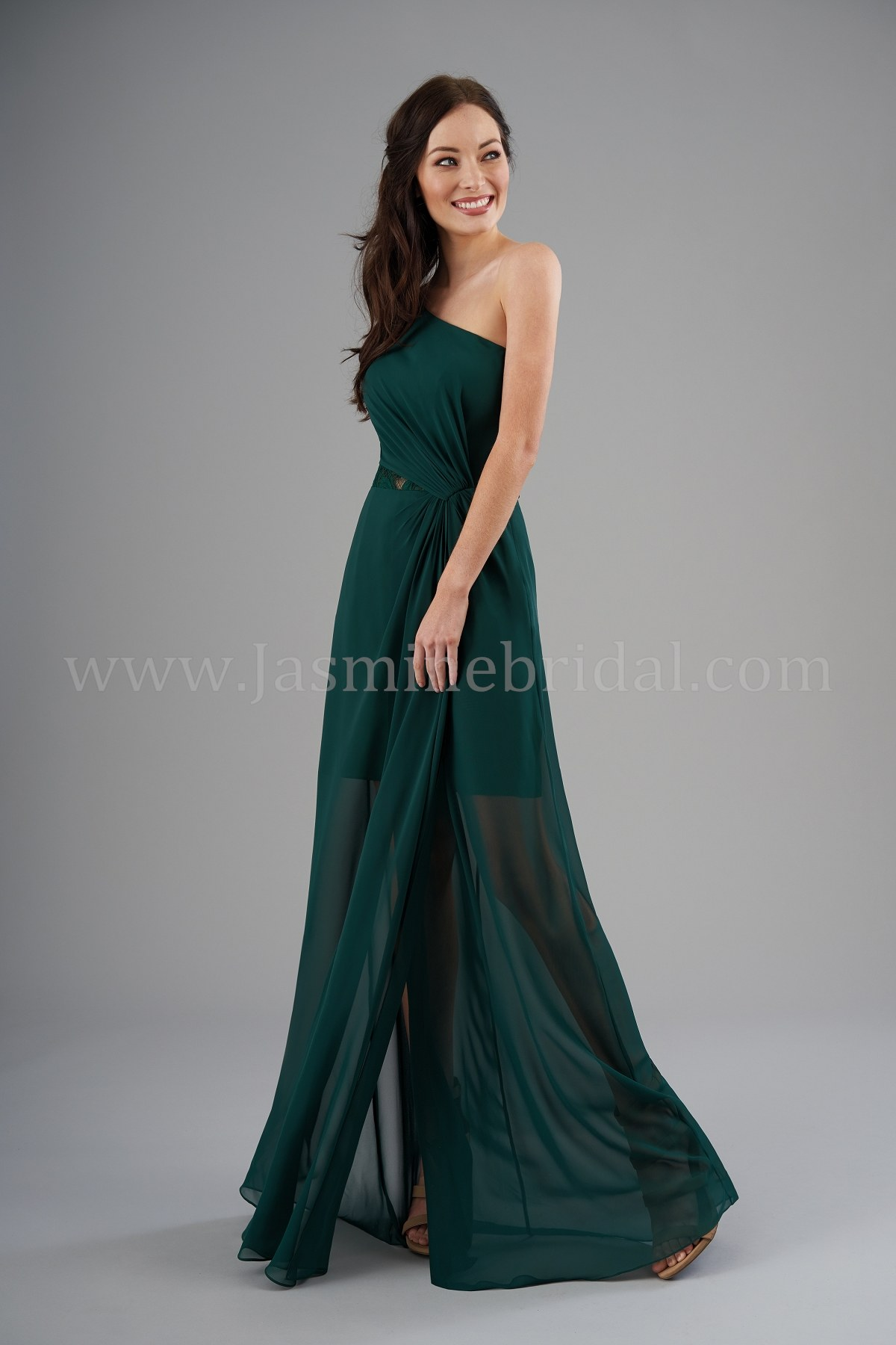 b9cf0f1cb87 B203053 One-Shoulder Poly Chiffon   Lace Long Bridesmaid Dress