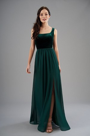 retail prices size 7 undefeated x B203055 Square Neckline Velvet & Poly Chiffon Long ...