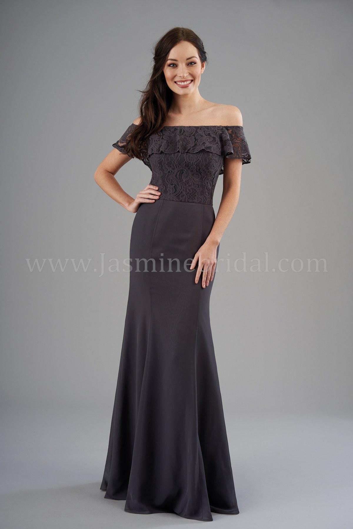 b6145e35e52 B203057 Off-the-Shoulder Lace & Poly Chiffon Long Bridesmaid Dress