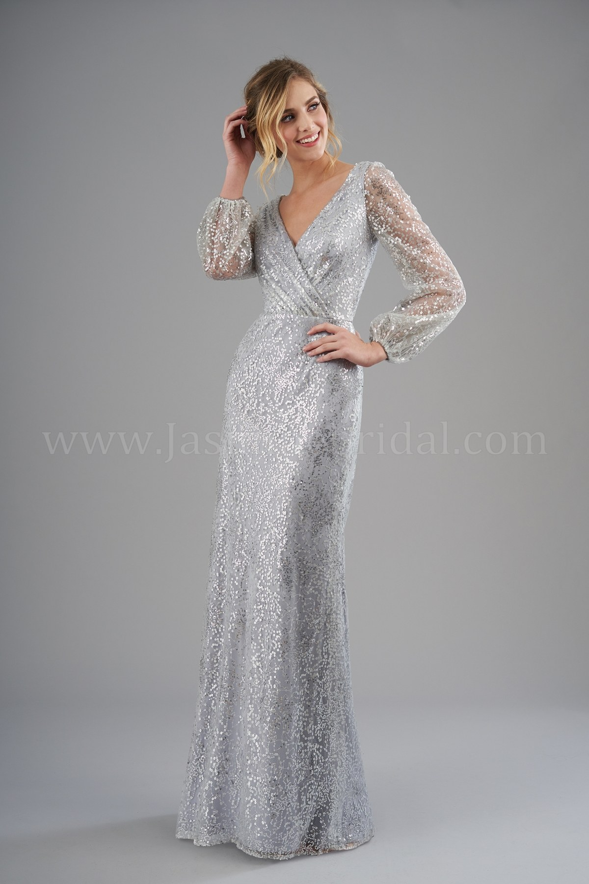76315b6778e B203062 V-neck Brushed Sequin Long Bridesmaid Dress