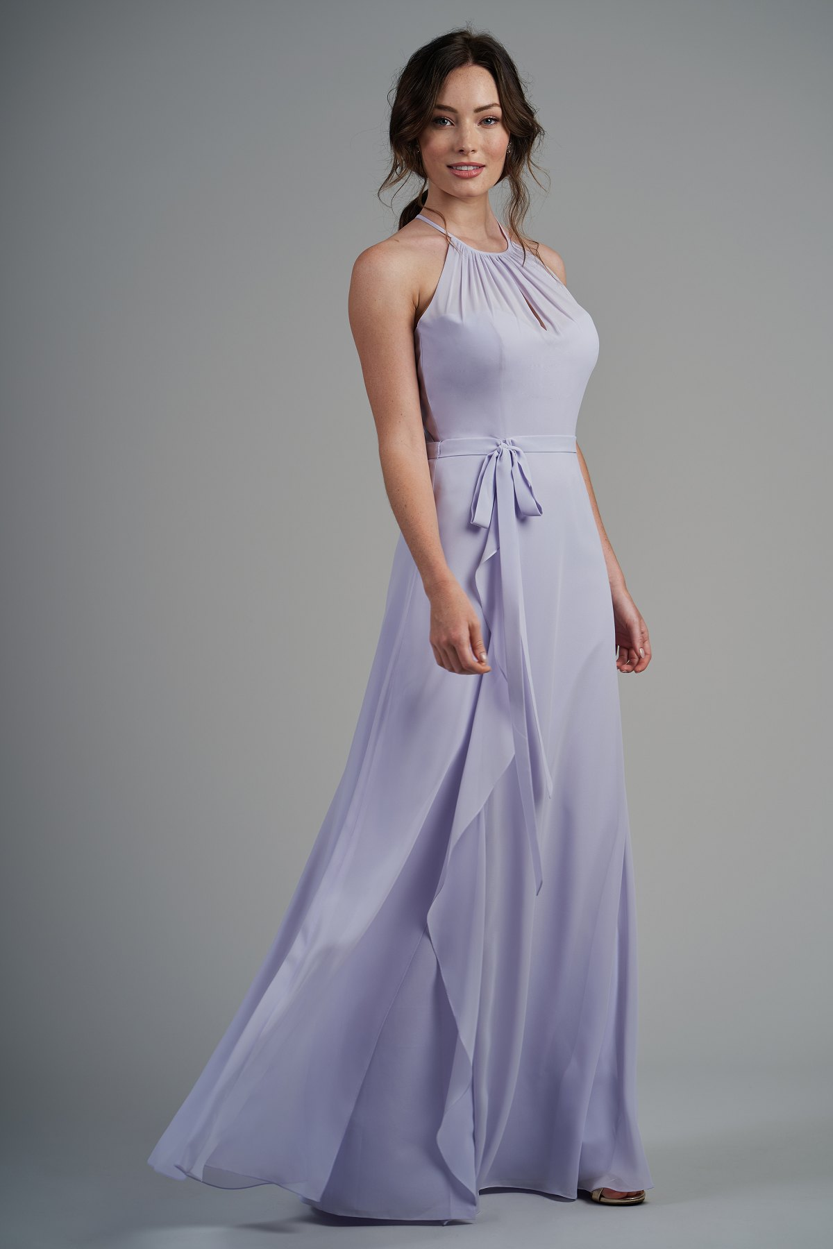 33e87afda4f B213005 Poly Chiffon Long Bridesmaid Dress with Jewel Neckline