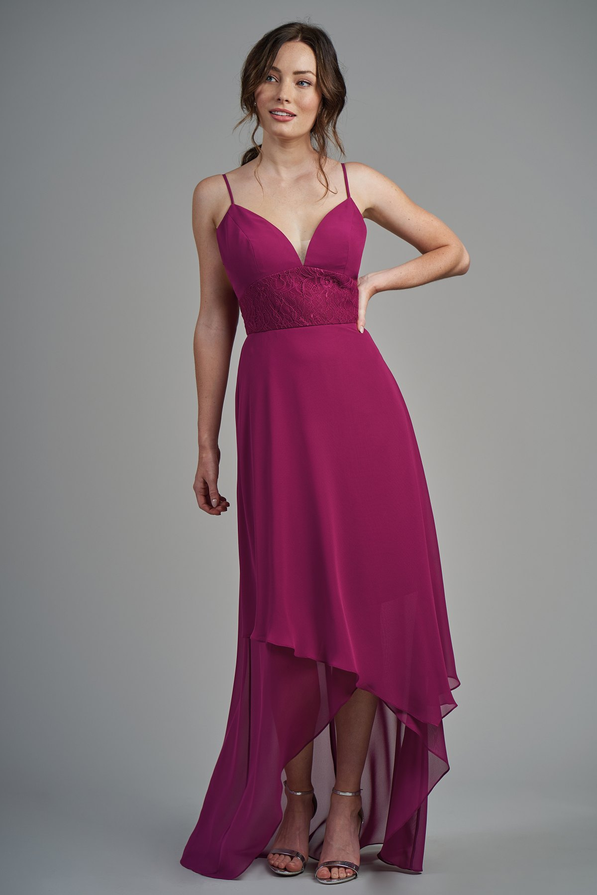 96463e12846 B213008 Poly Chiffon & Lace High-Low Bridesmaid Dress with V-Neckline