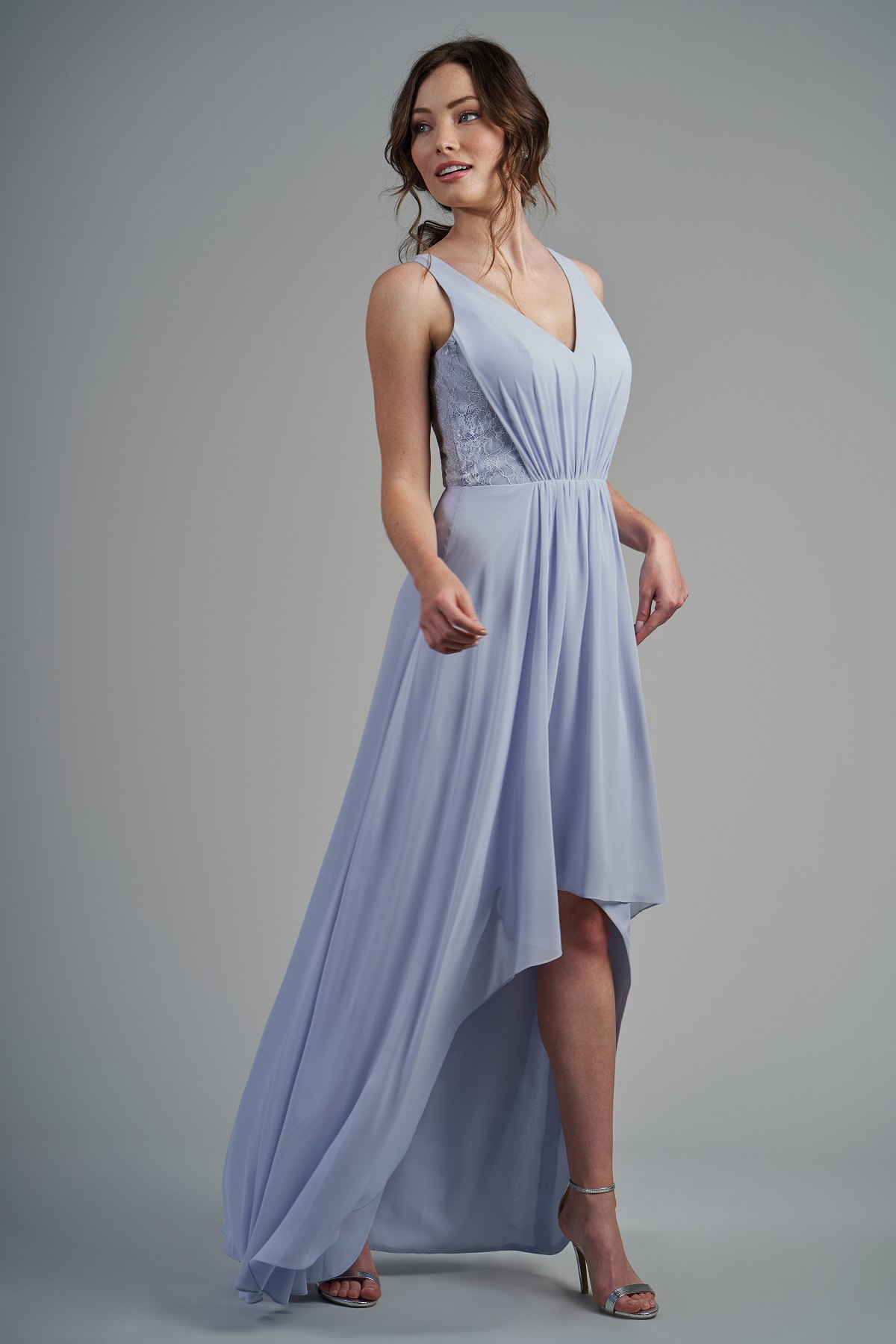 344ad658a91 B213015 Poly Chiffon   Lace High-Low Bridesmaid Dress with V-Neckline
