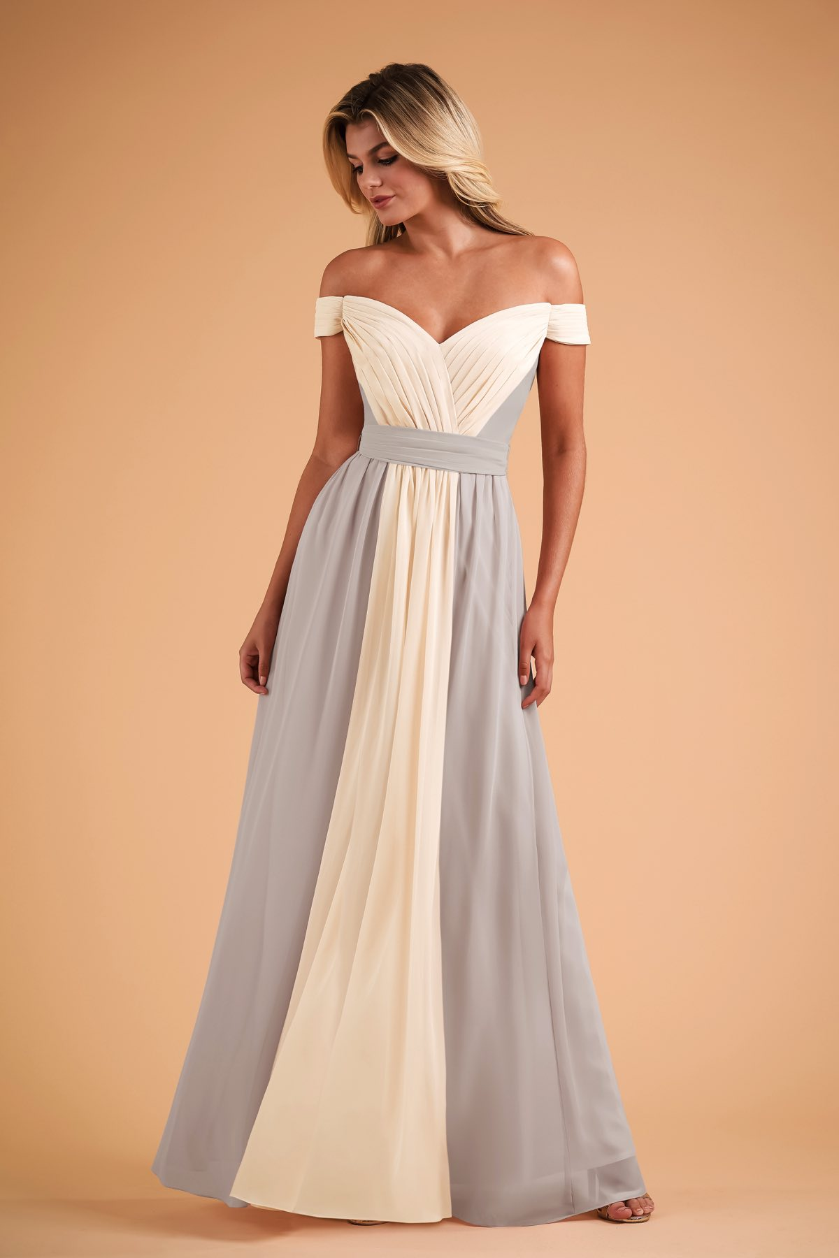 B223004 Two Tone Portrait Neckline Bridesmaid Dress With