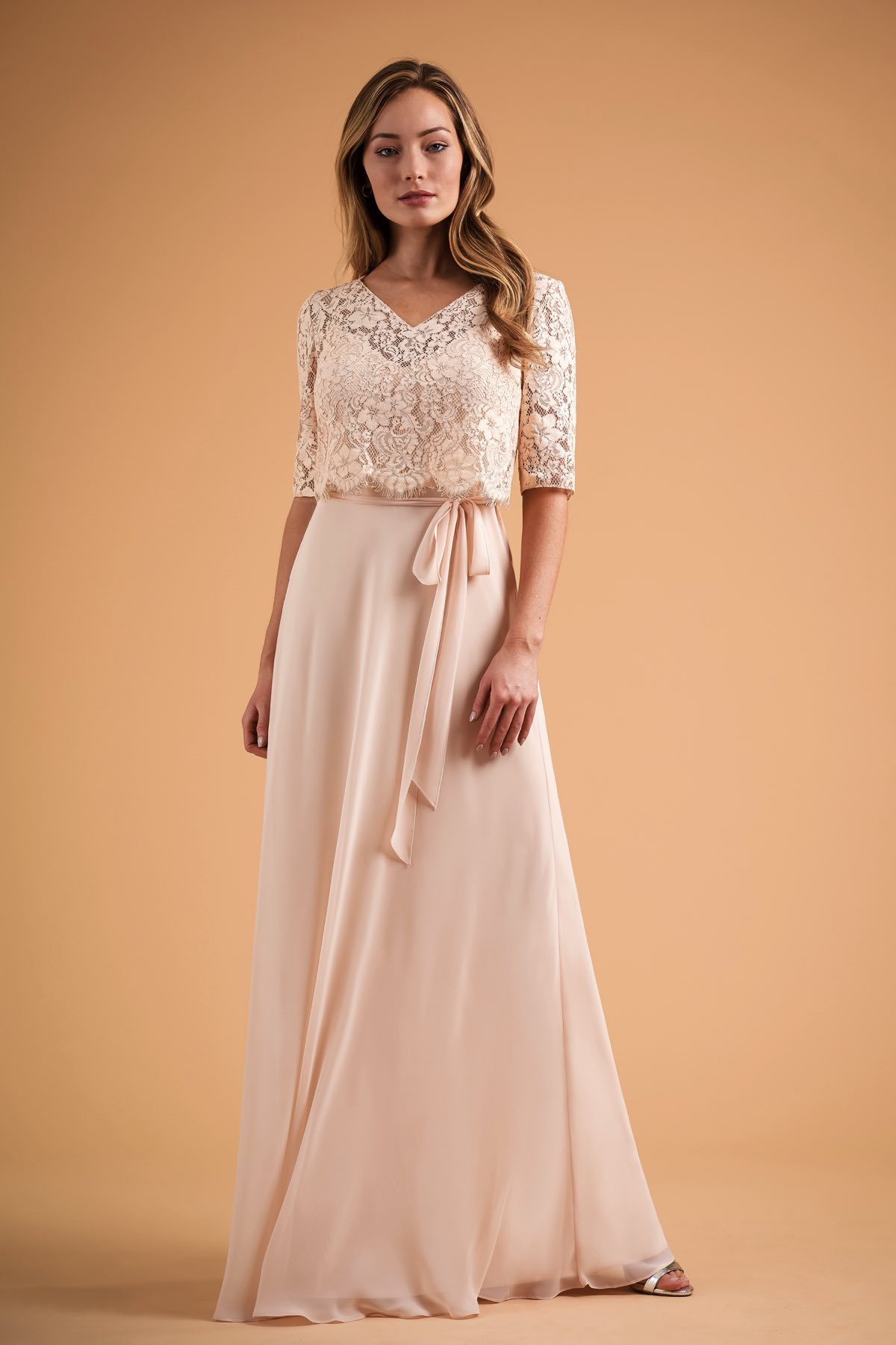 B223012 Two Piece 3 4 Sleeve Top With Poly Chiffon Dress And