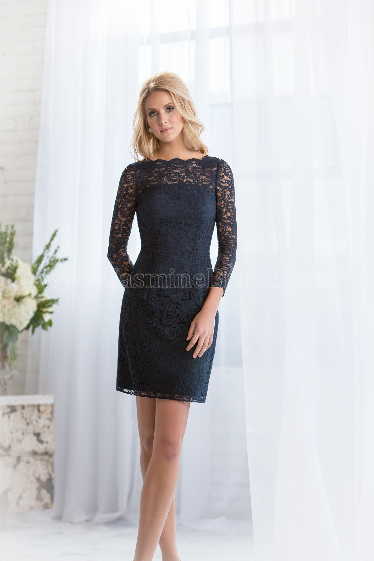 L164072 mini length bateau neckline lace bridesmaid dress ombrellifo Gallery