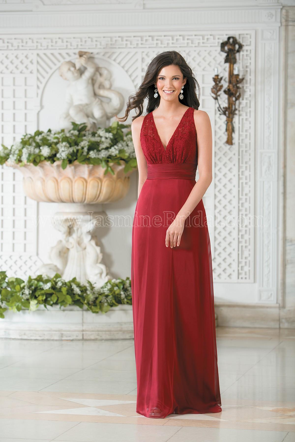 L174011 Long V-neck Lace & Belsoie Tiffany Chiffon Bridesmaid Dress