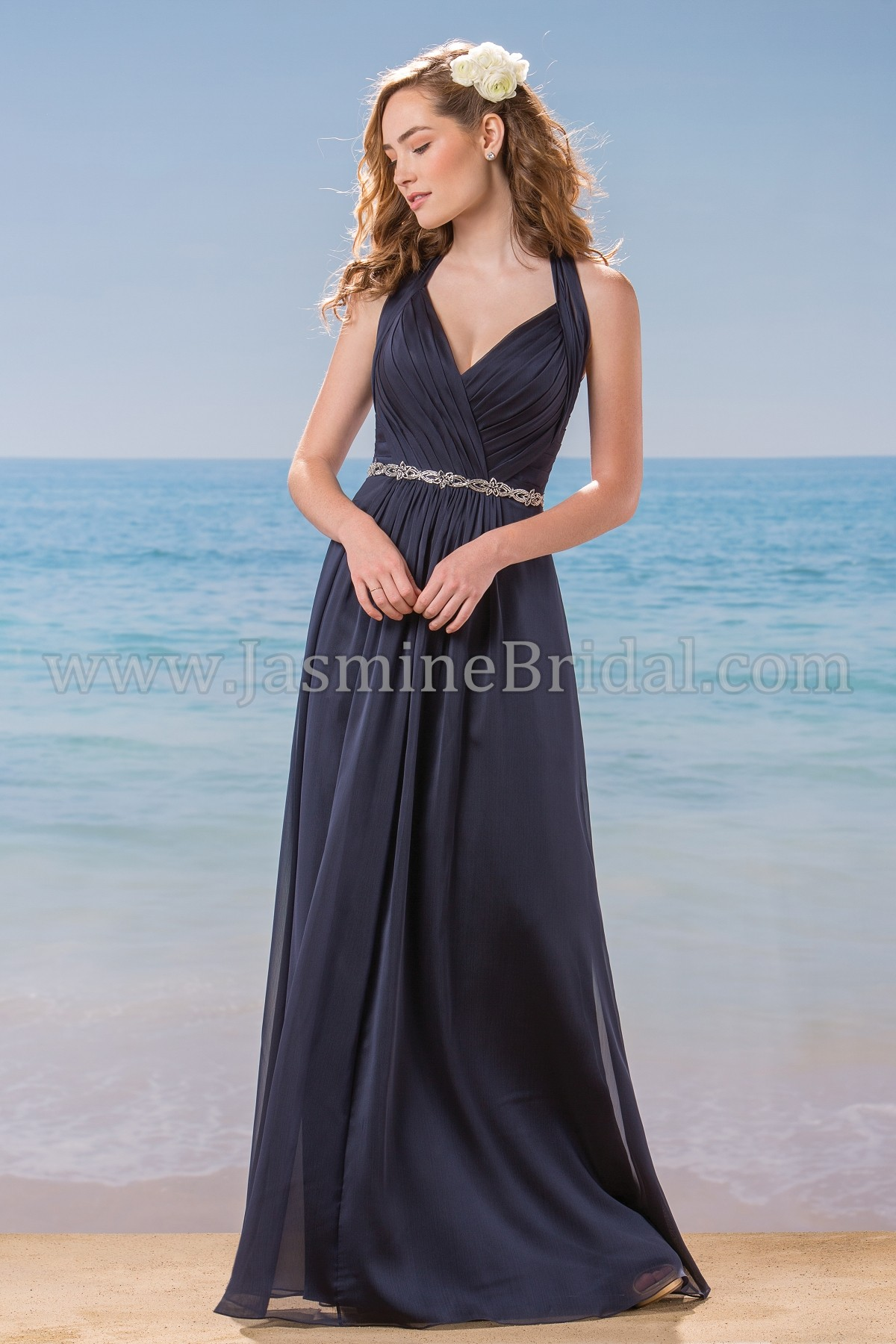L184007 Long V-neck Halter Belsoie Tiffany Chiffon Bridesmaid Dress