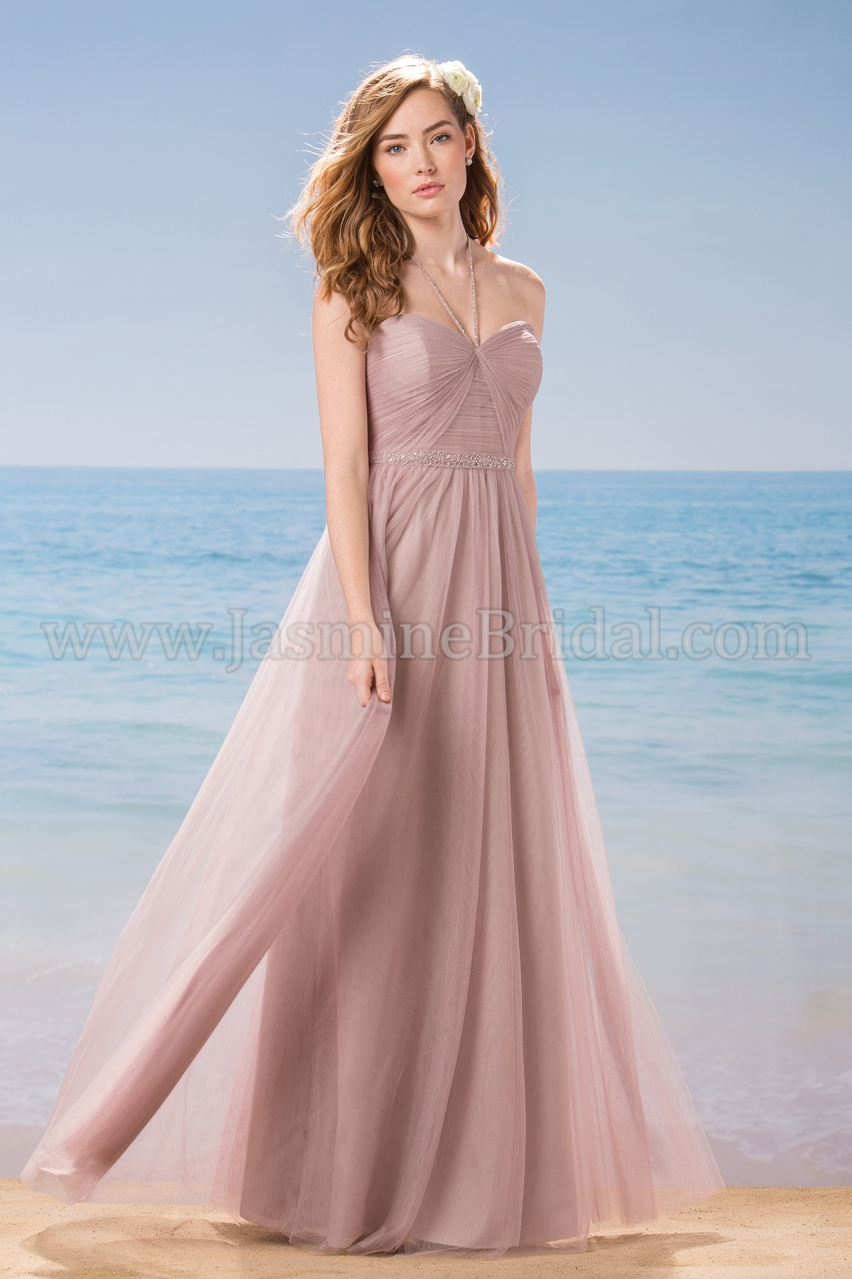 L184010 Long Strapless Halter Strap Soft Tulle Bridesmaid Dress
